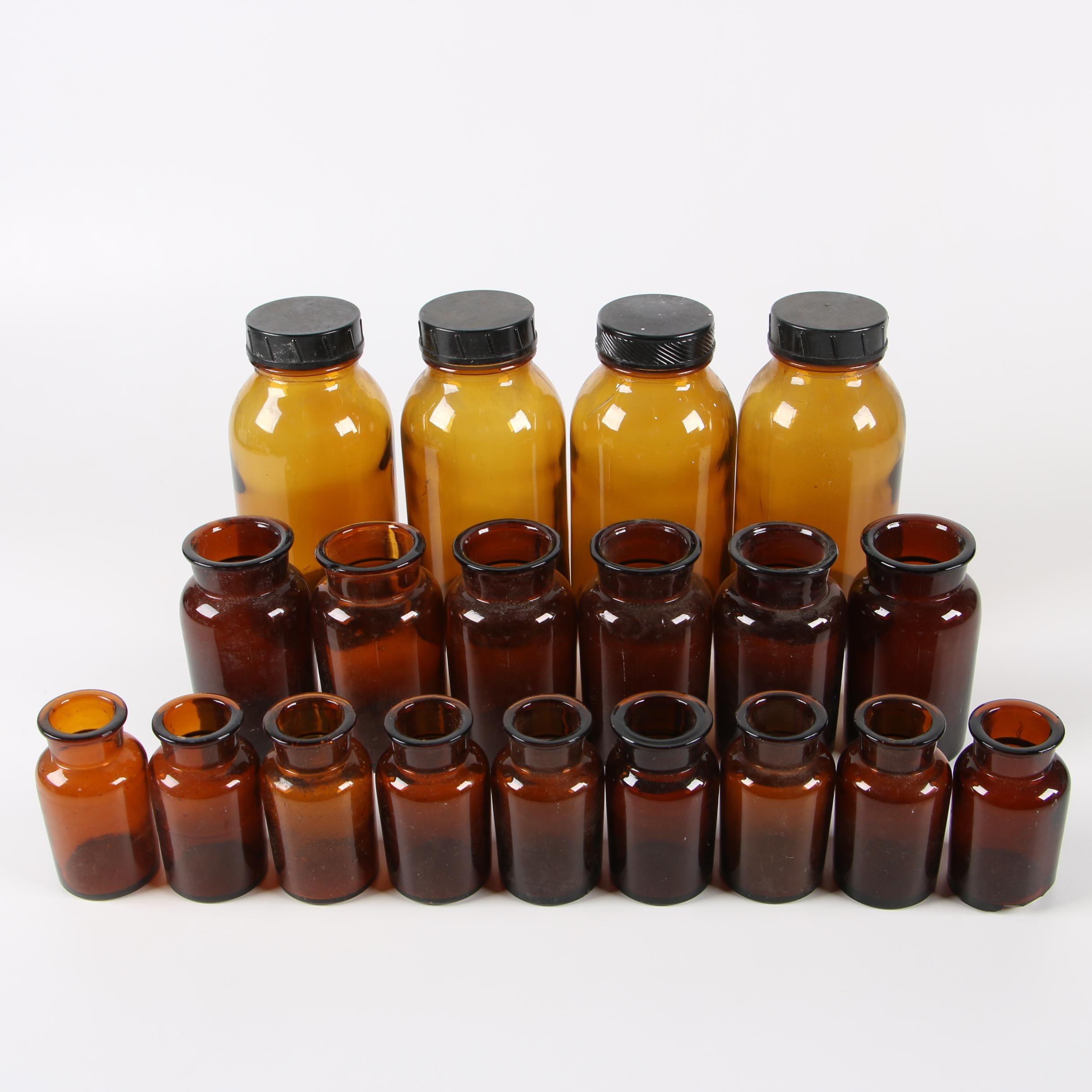 Czechoslovakian Amber Glass Apothecary Jars, Mid-Century
