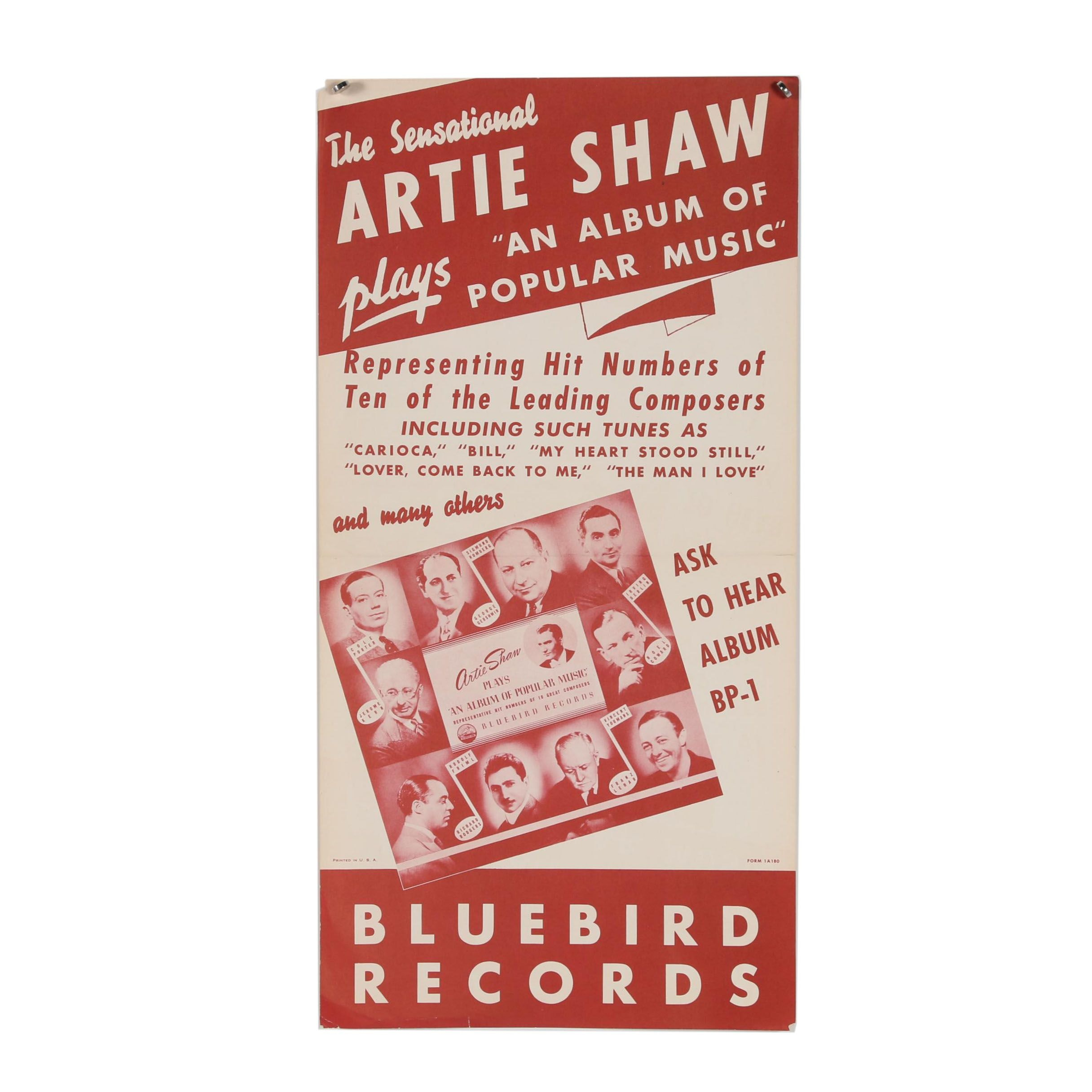 "Bluebird Records Lithograph Poster ""Artie Shaw"""