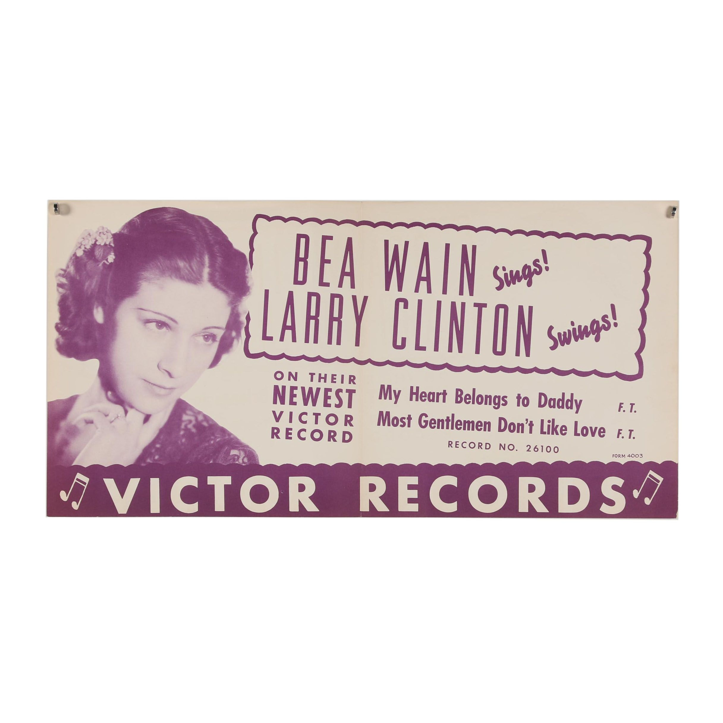 "Victor Records Lithograph Poster ""Bea Wain Sings! Larry Clinton Swings!"""