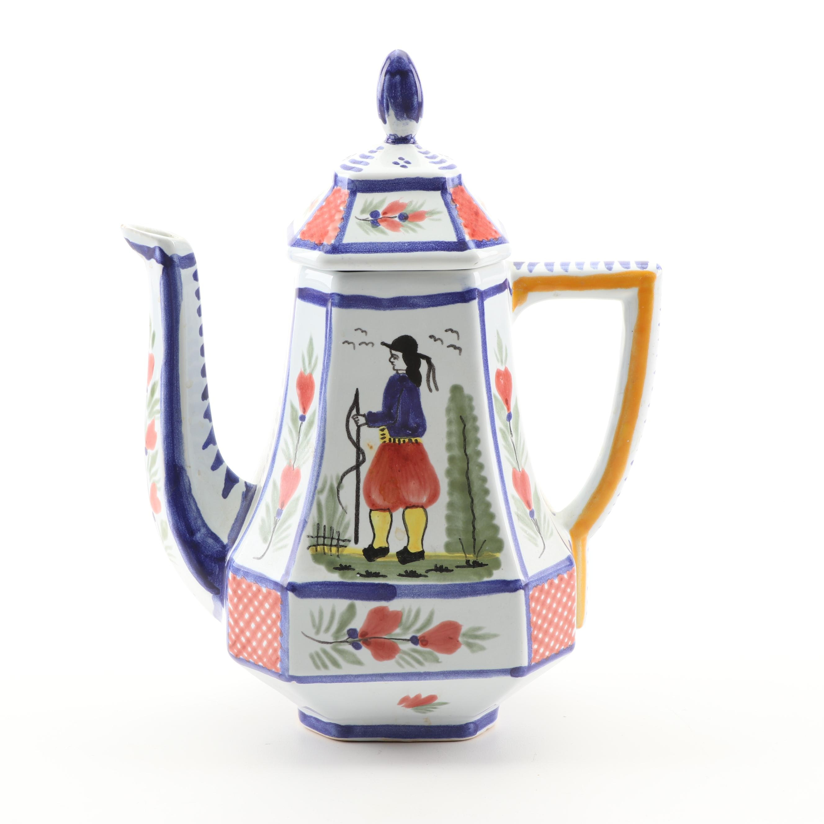 Henriot Quimper France Painted Coffee Pot, Mid-20th Century