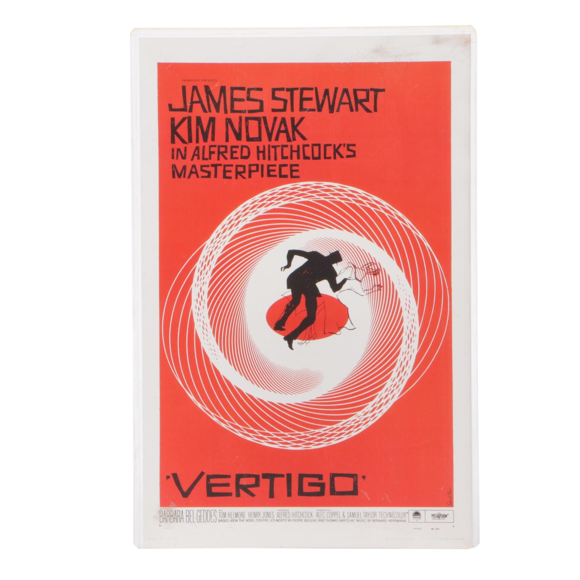 """Reproduction Print After 1958 Movie Poster for """"Vertigo"""""""