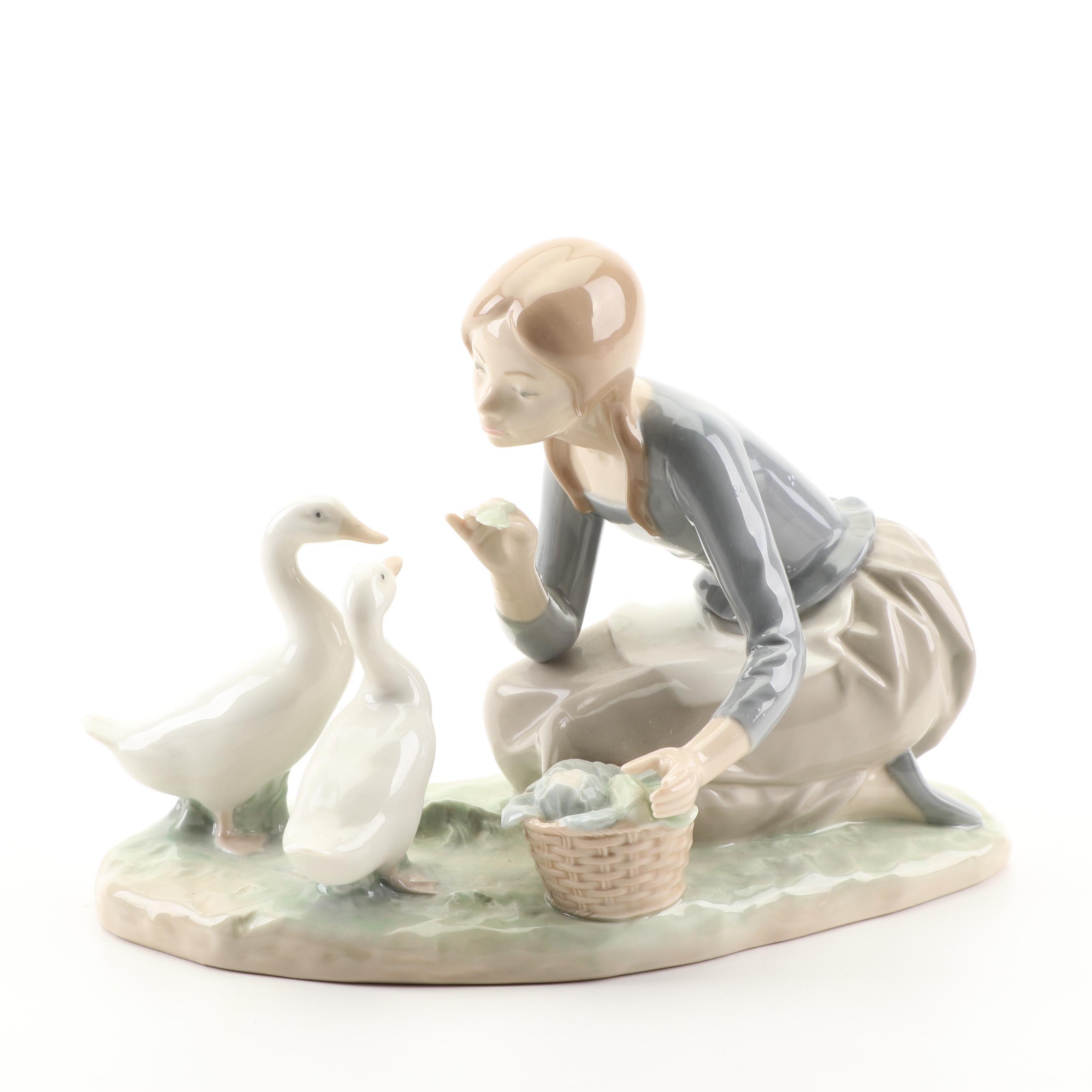 """Lladró """"Food for Ducks"""" Porcelain Figurine"""