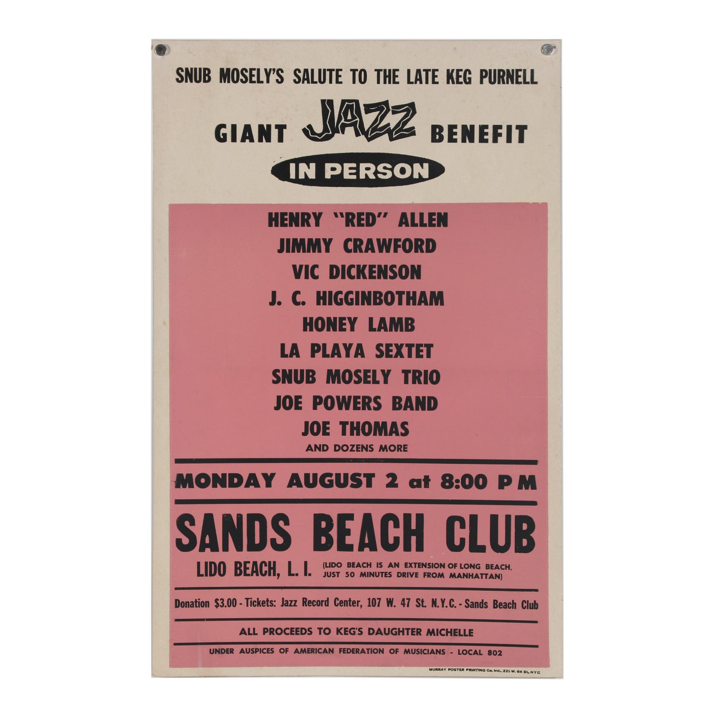 "Jazz Benefit Poster ""Snub Mosley's Salute to the Late Keg Purnell"""