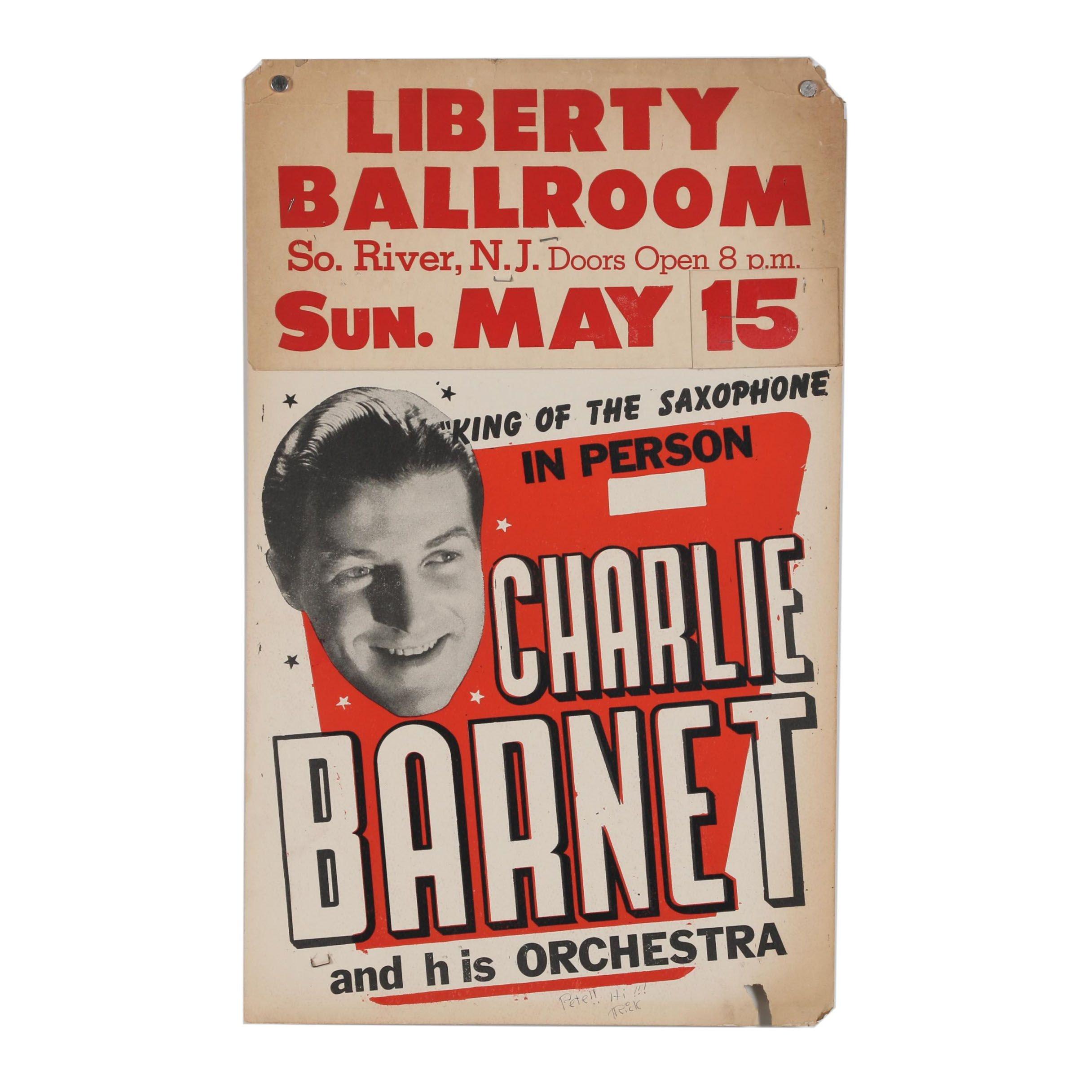 """Liberty Ballroom Relief Poster """"Charlie Barnet"""""""
