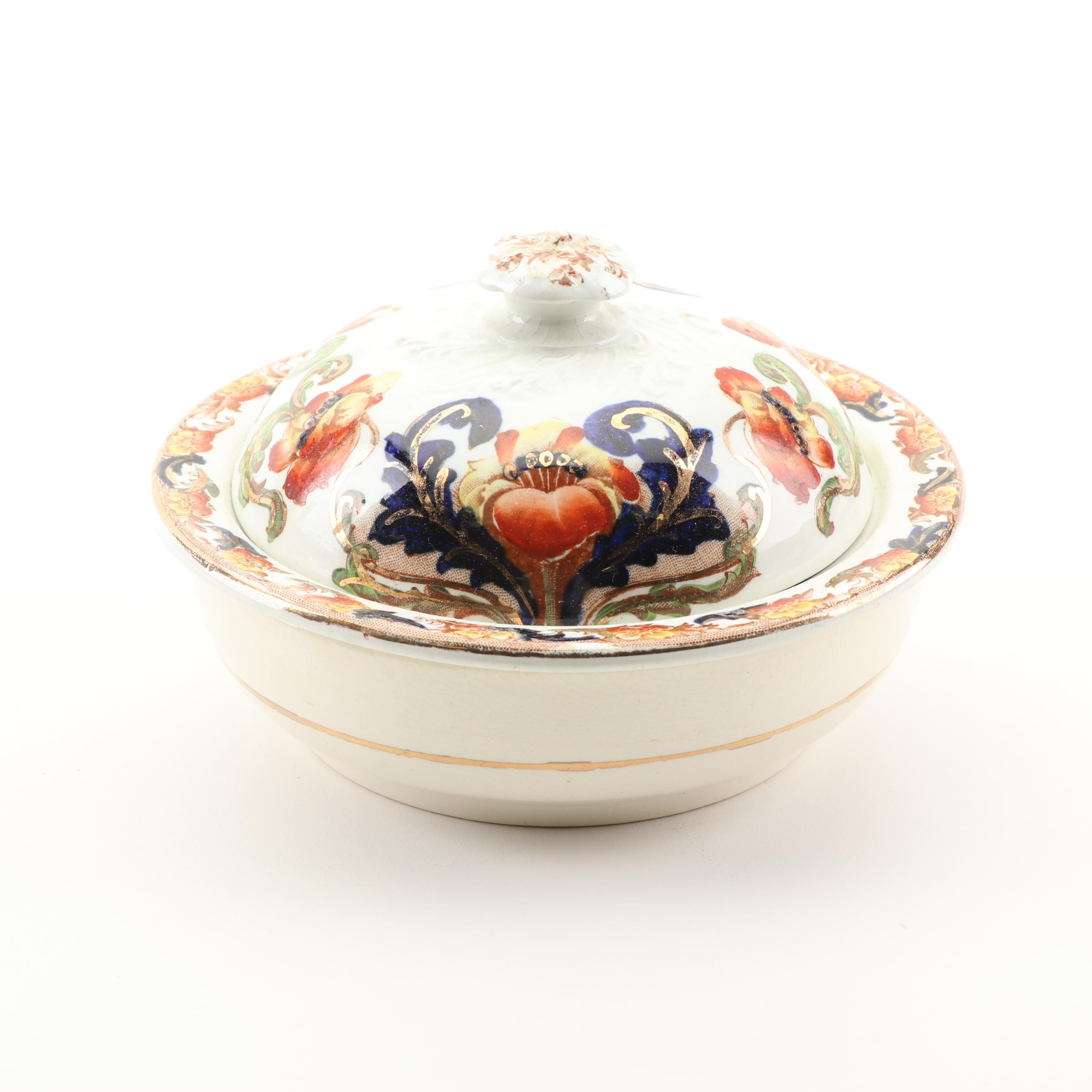 Hand-Colored Covered Butter Dish with Strainer, 19th Century