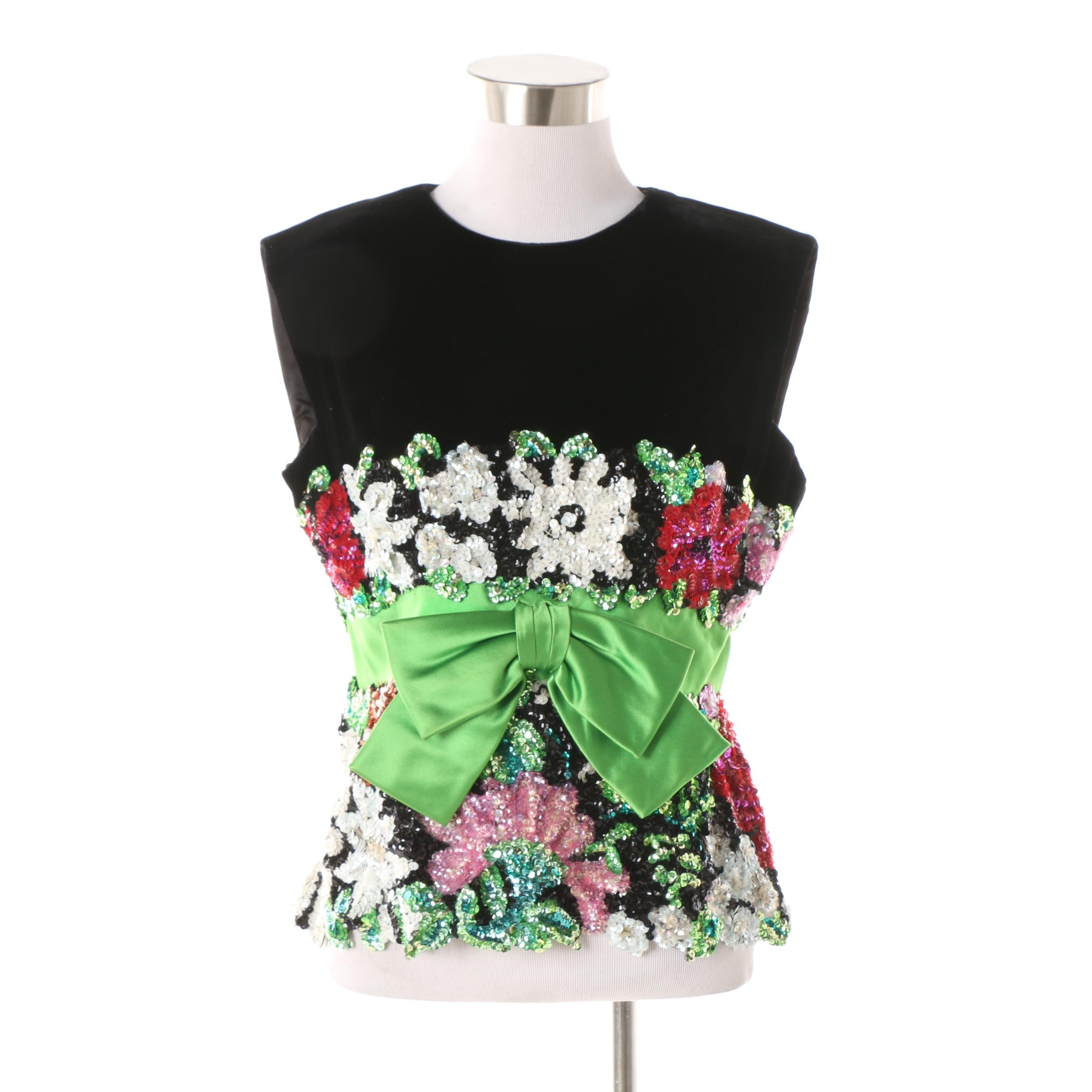 Vintage Black Velvet and Satin Floral Beaded Evening Sleeveless Top