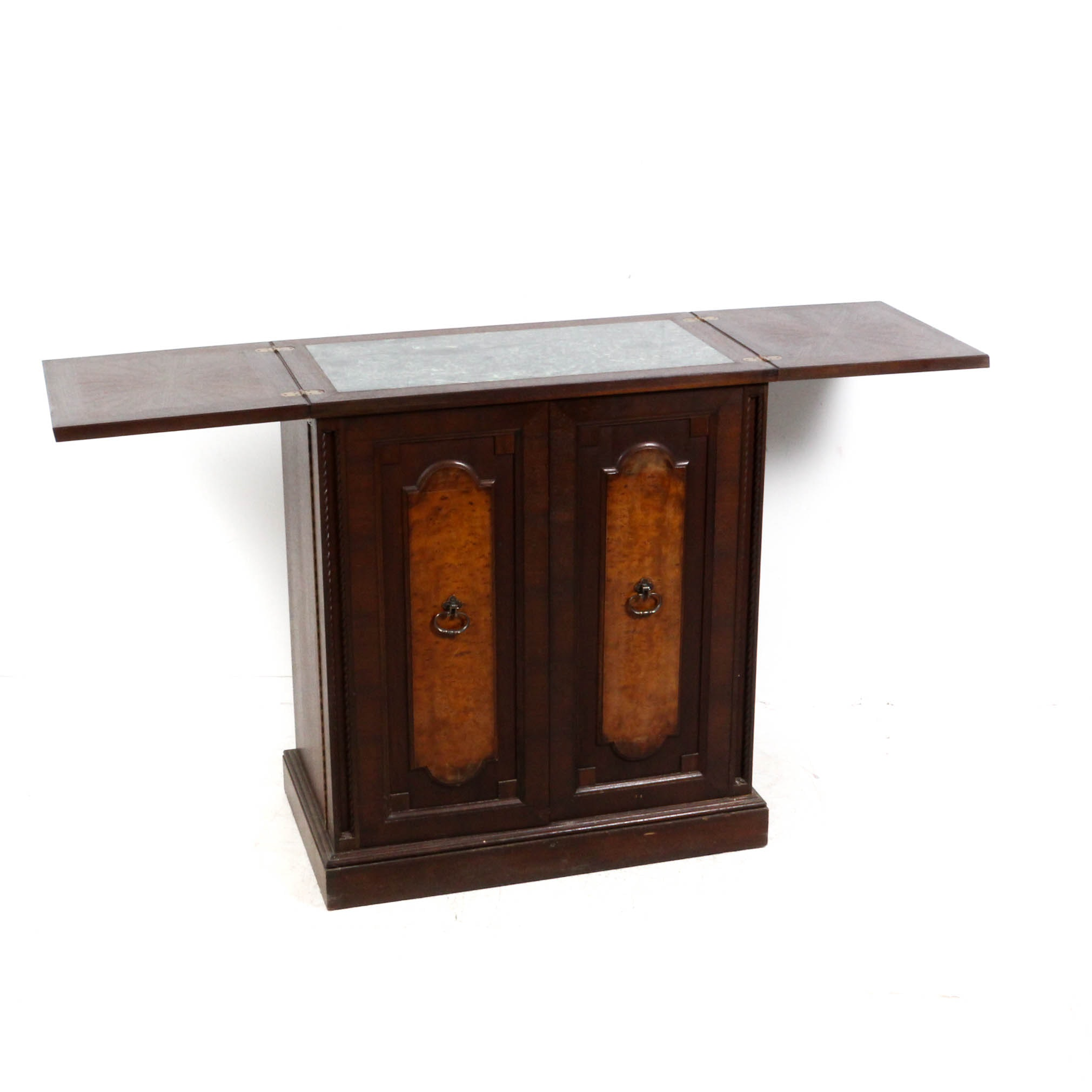 Mahogany Wooden Fold Out Bar with Granite Top