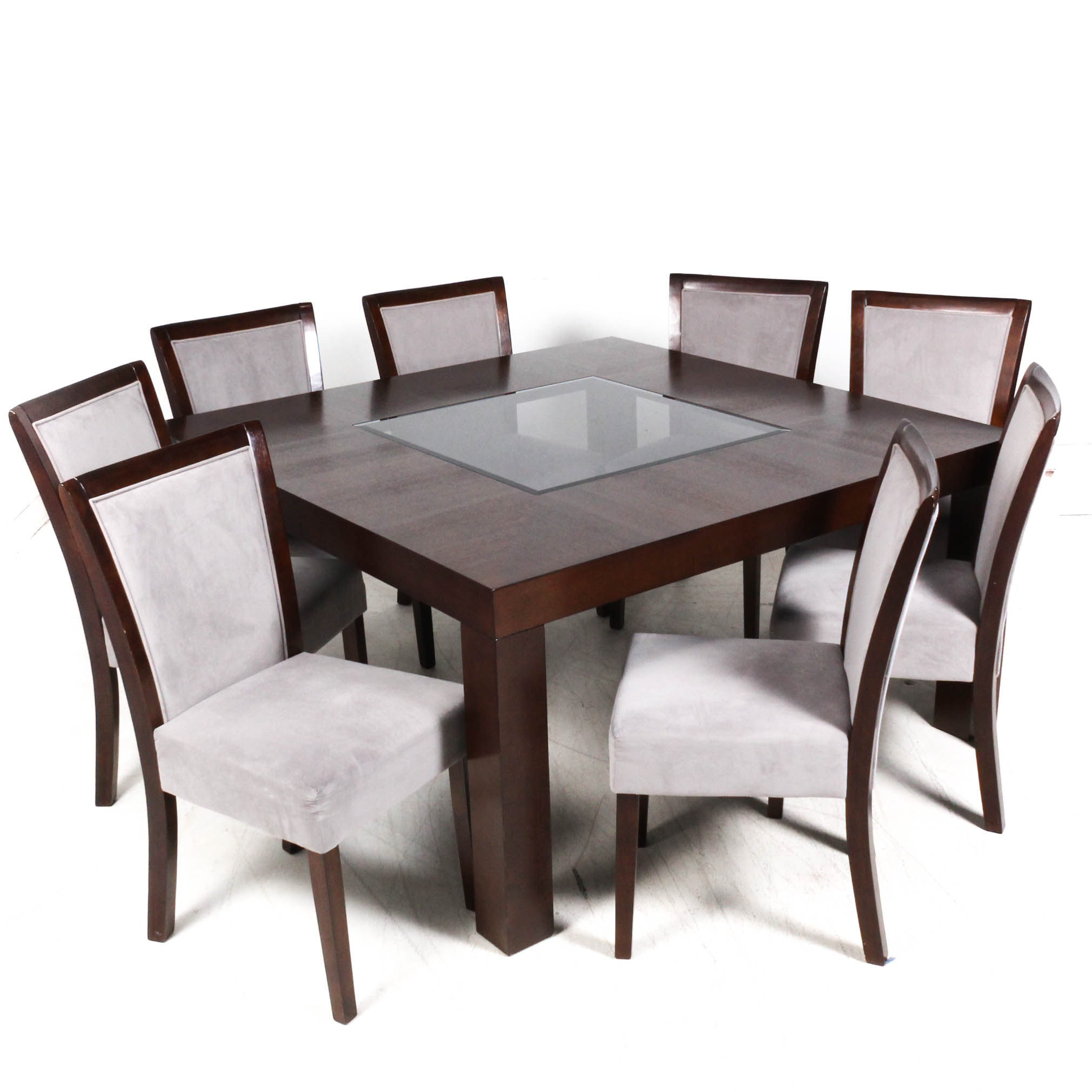 Wooden Glass Center Dining Table and Chairs