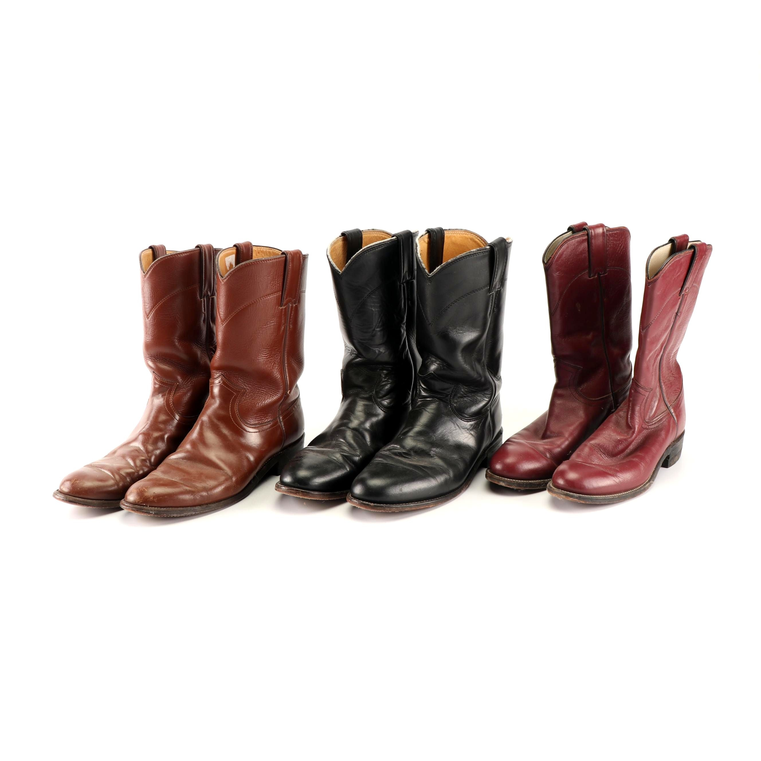 Women's Justin Western Boots in Black, Cognac and Dark Red Leather
