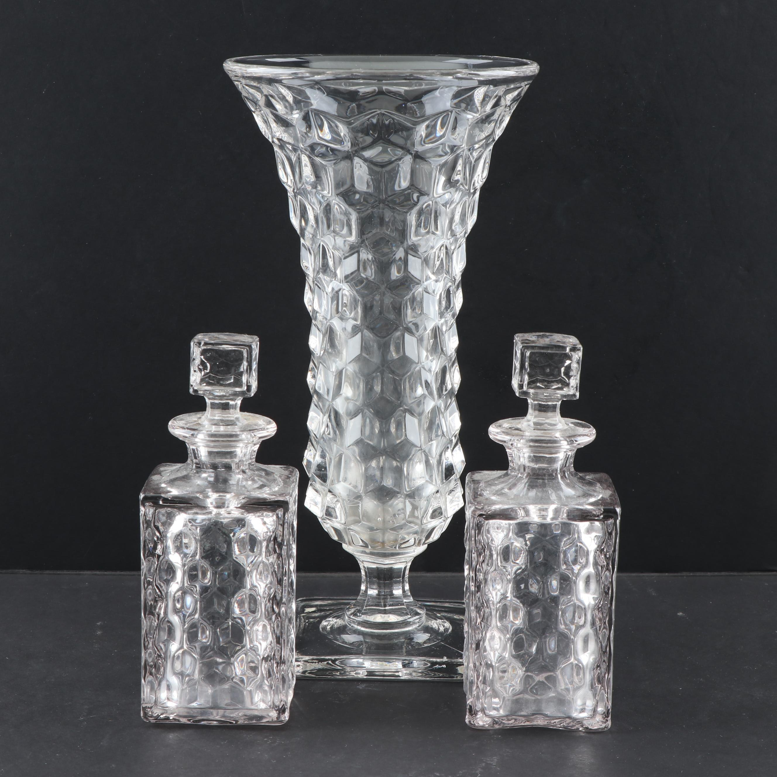 "Fostoria ""American"" Glass Vase and Bitters Bottles"