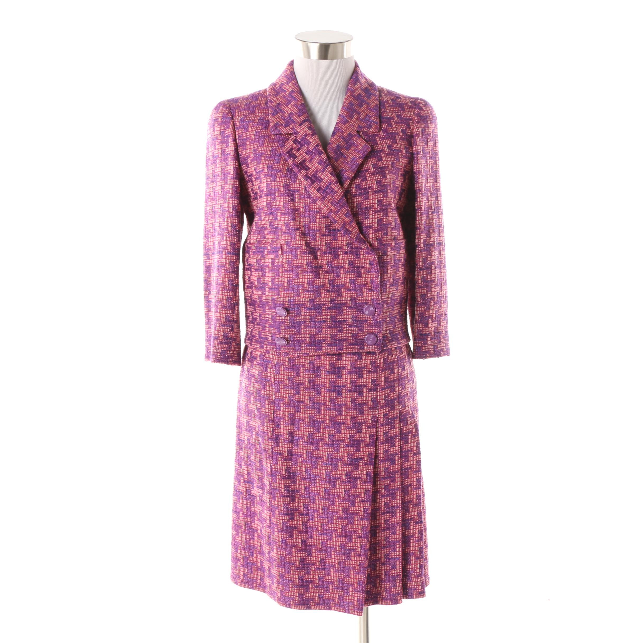 Chanel Pink and Purple Wool Blend Tweed Skirt Suit