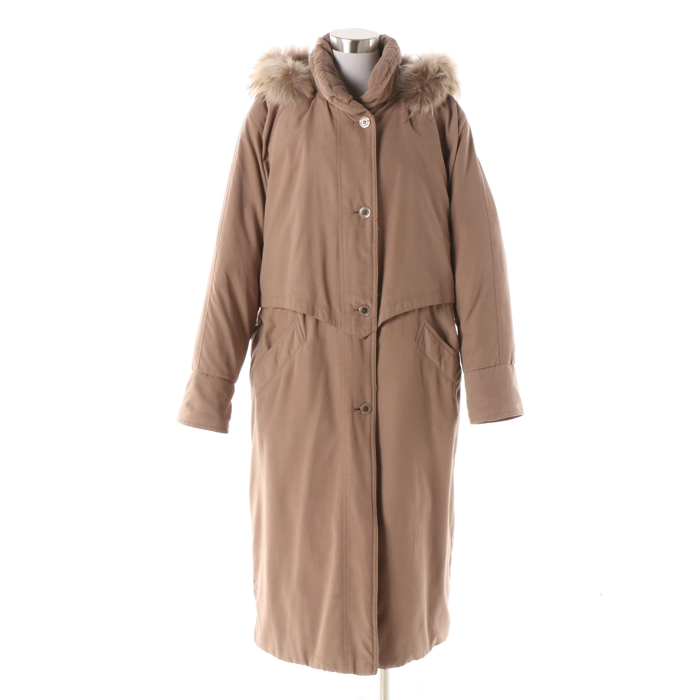 Gallery Down Feather Full-Length Coat with Detachable Raccoon Trimmed Hood