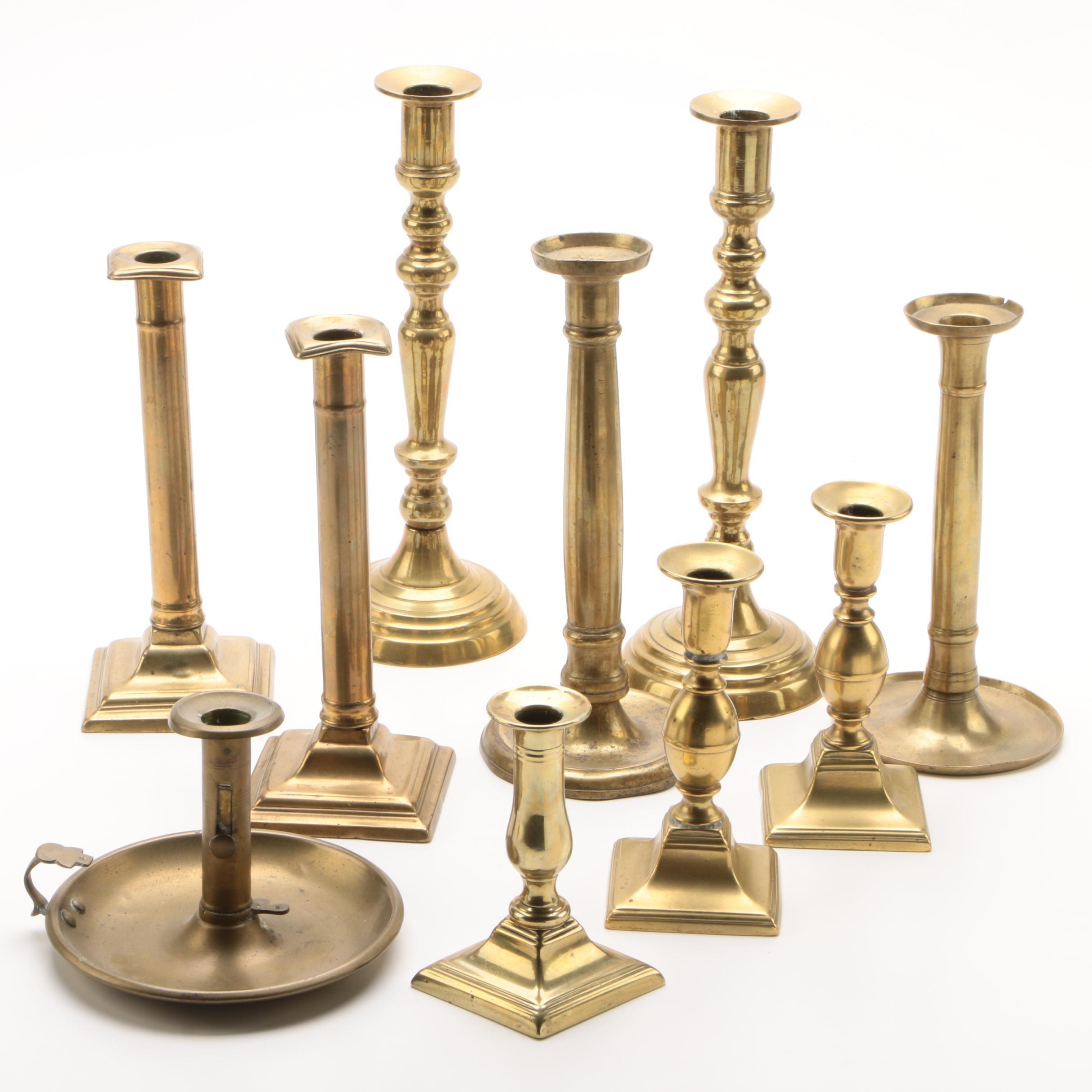 Brass Candlesticks and Chamberstick, Mid-Century