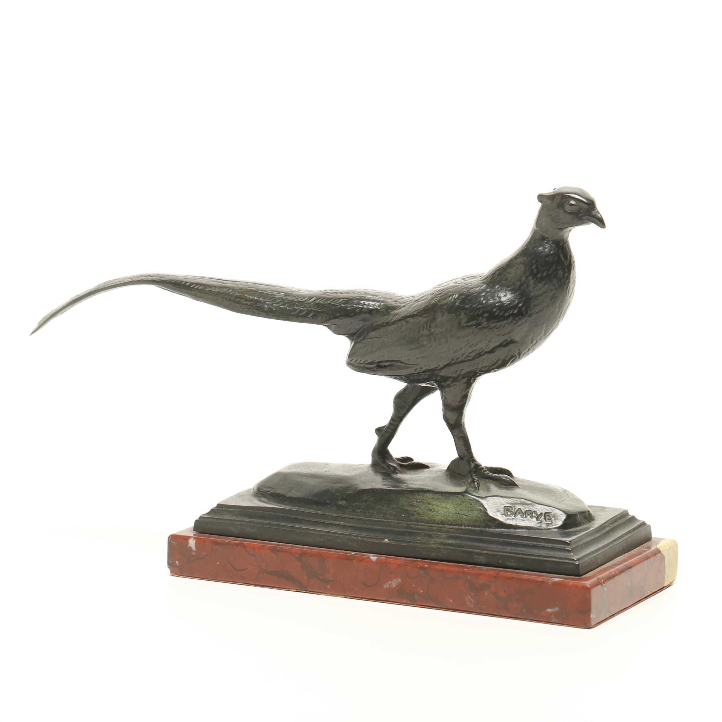 "19th Century Bronze Sculpture ""Pheasant"" by Antoine Louis Barye"