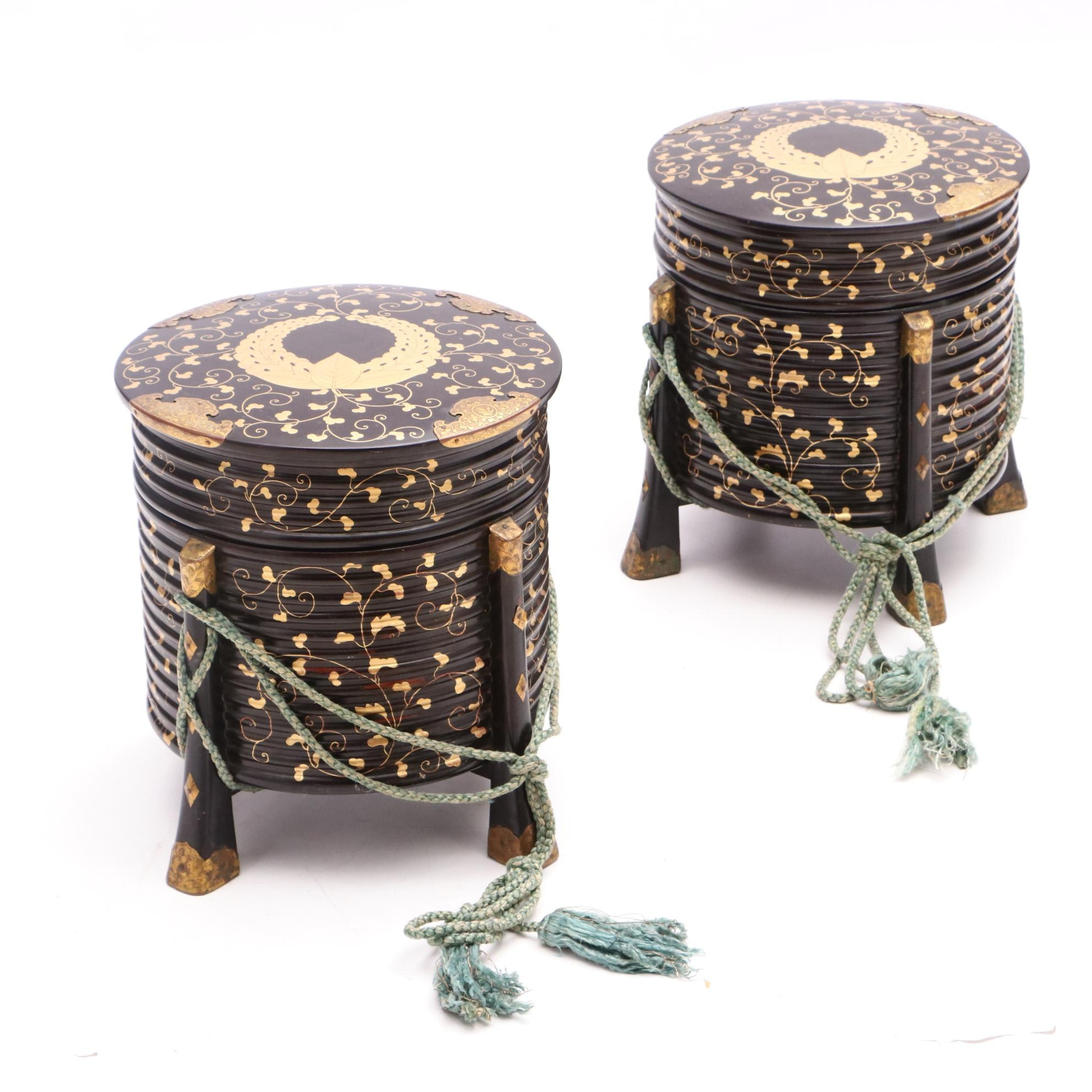 Meiji Period Lacquered and Gilt Hat Boxes