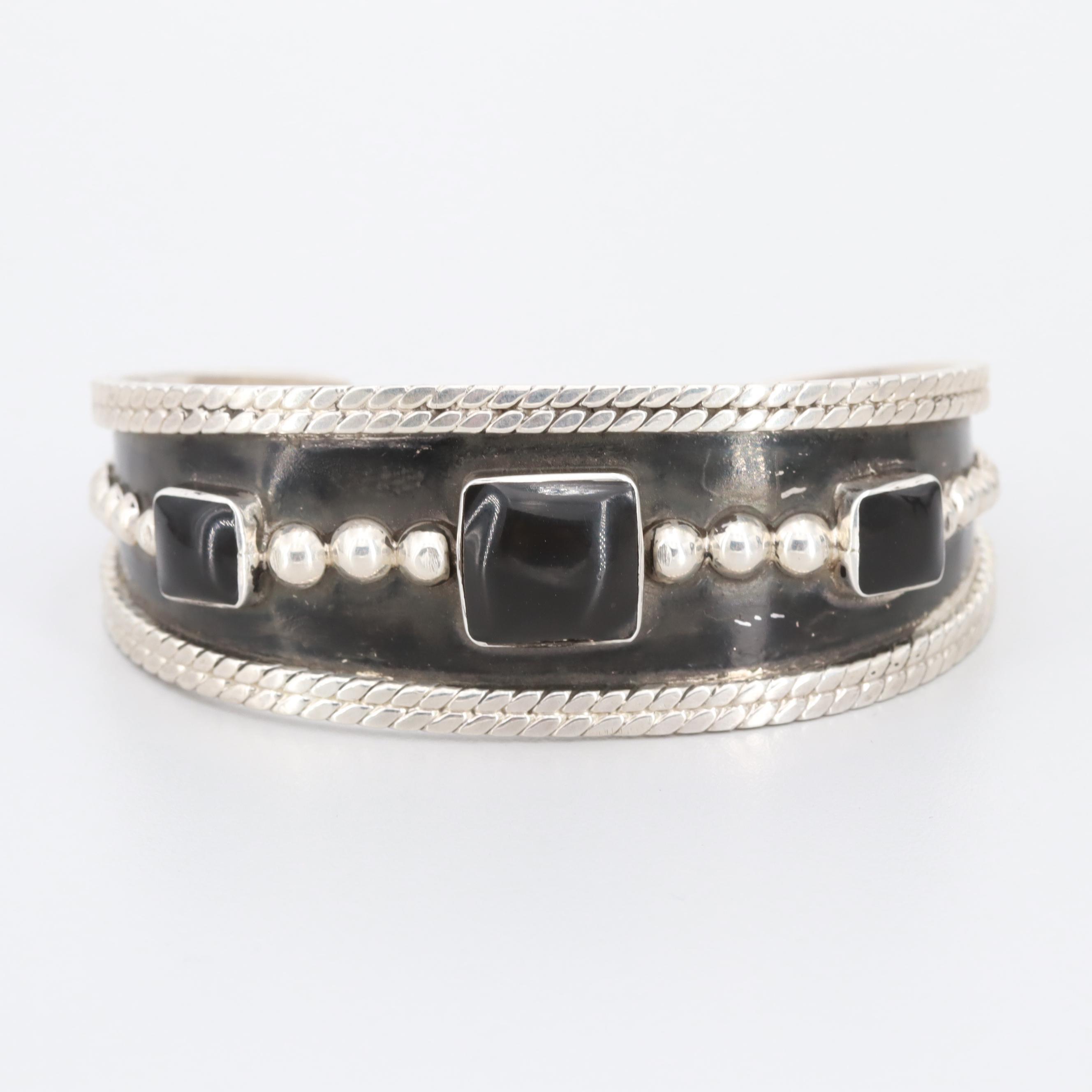 Sterling Silver Resin Cuff Bracelet