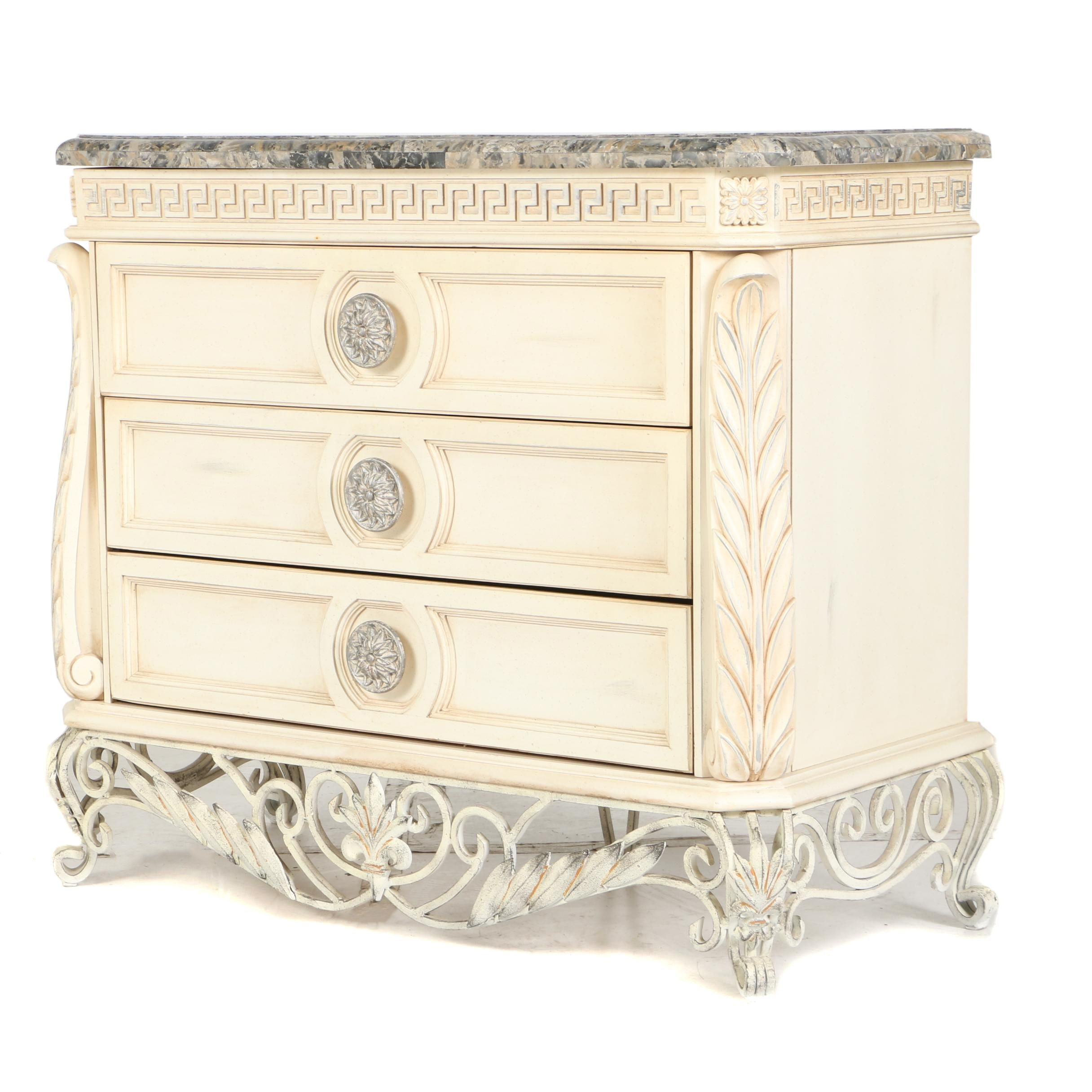 Contemporary Cream-Painted and Laminated-Marble Chest of Drawers by Pulaski