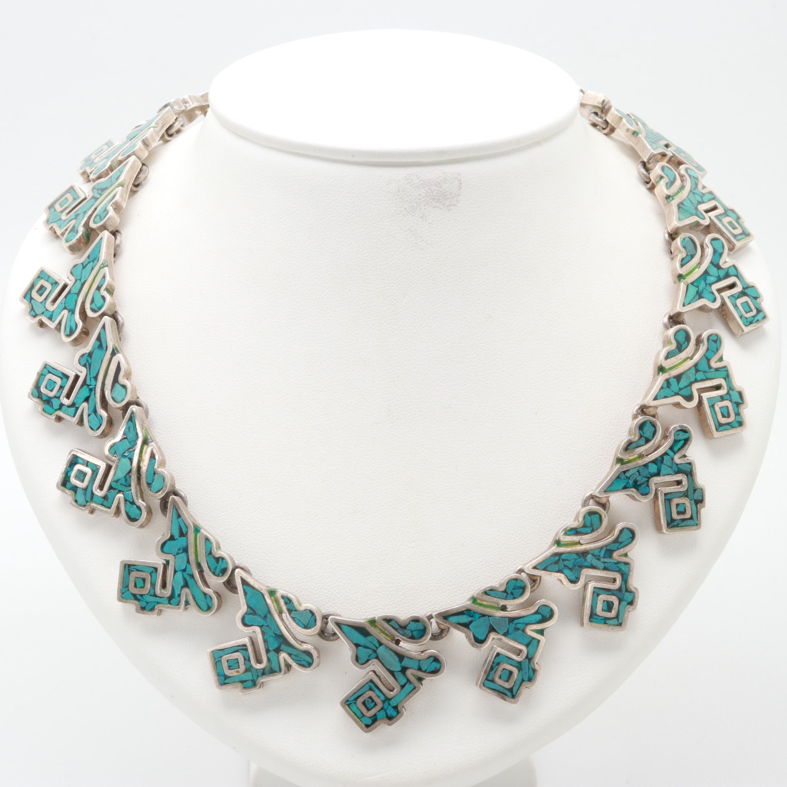 Southwestern Style Sterling Silver Imitation Turquoise Necklace