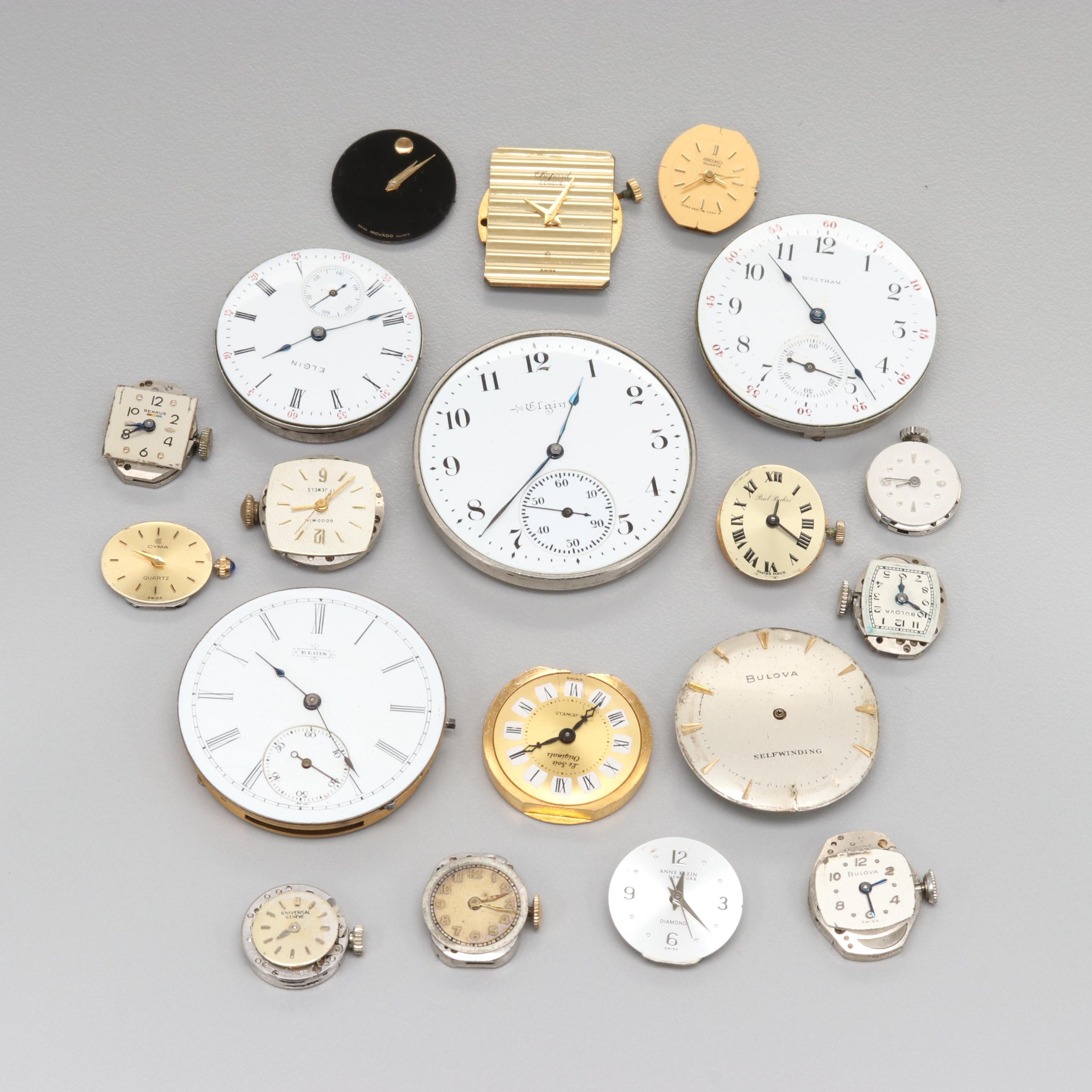 Assorted Pocket and Wristwatch Dials and Movements