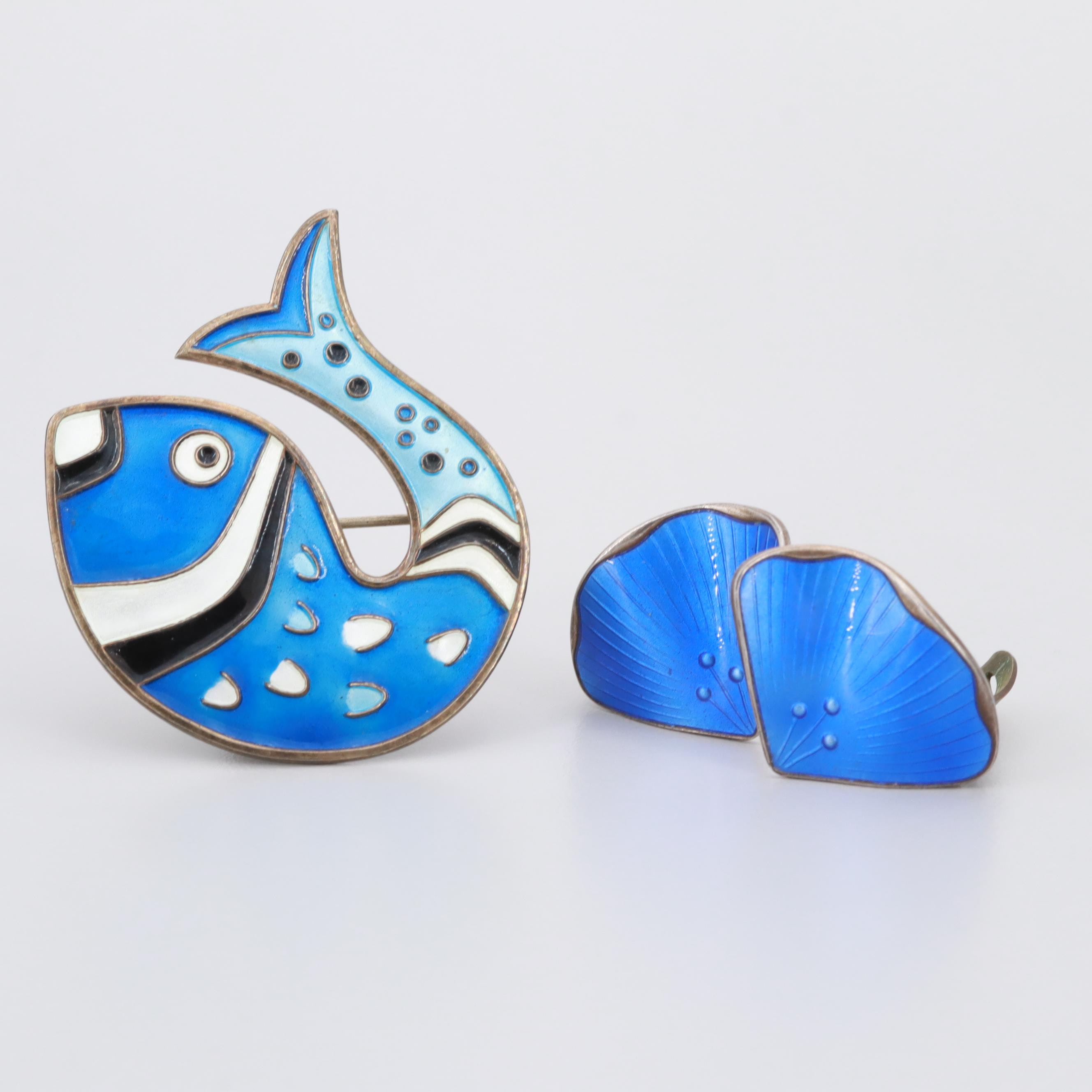Sterling Silver Norwegian Enamel Earrings and David Andersen Fish Brooch