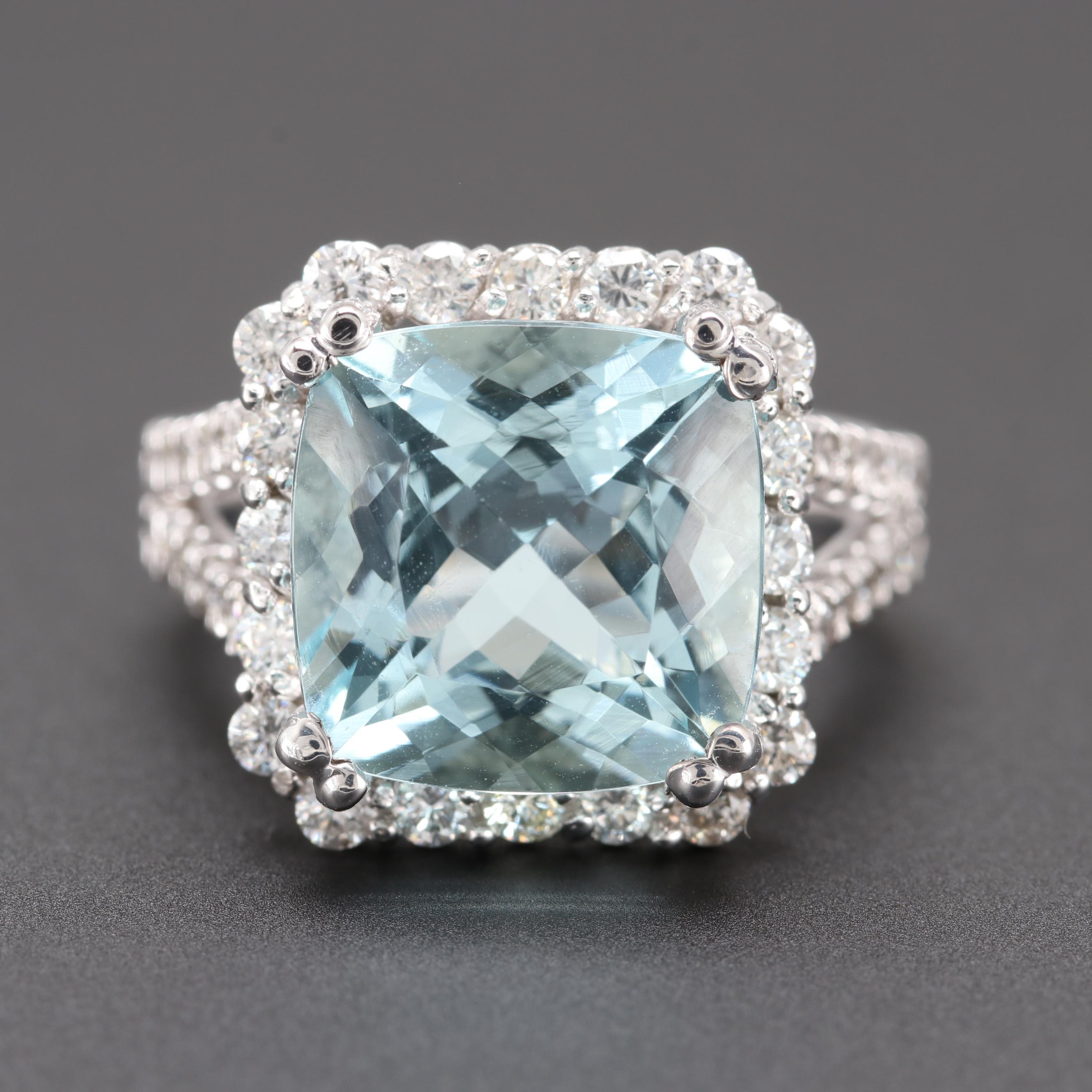 14K White Gold 5.37 CT Aquamarine and 1.08 CTW Diamond Ring