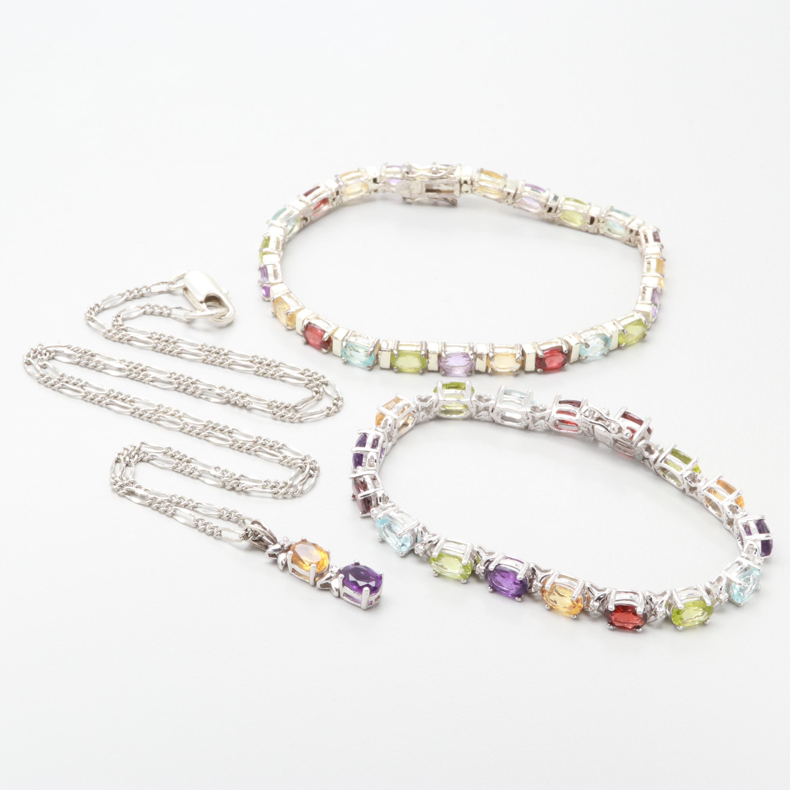 Silver Tone and Sterling Garnet, Peridot, Amethyst and Diamond Jewelry