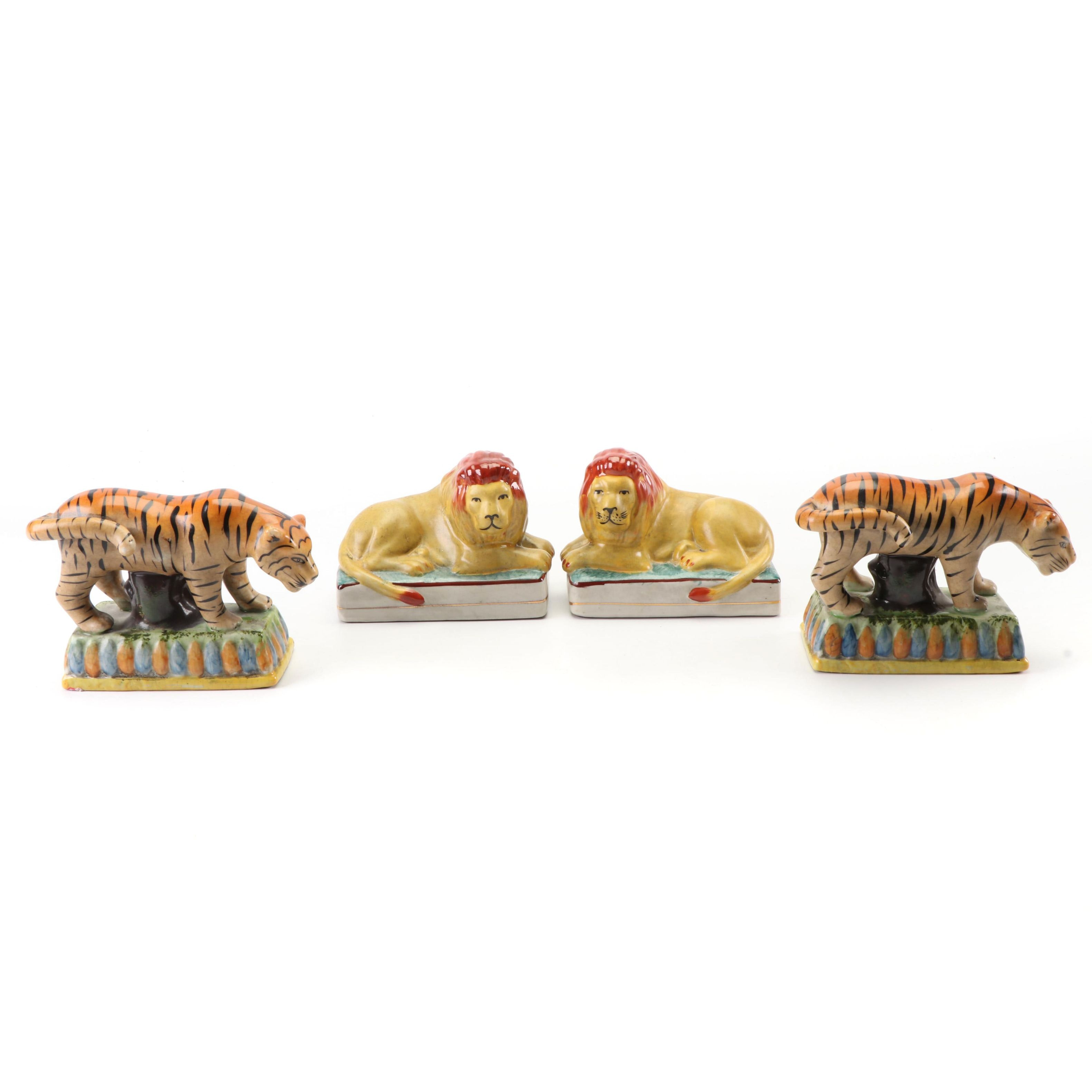 Hand-Painted Porcelain Lion and Tiger Bookends