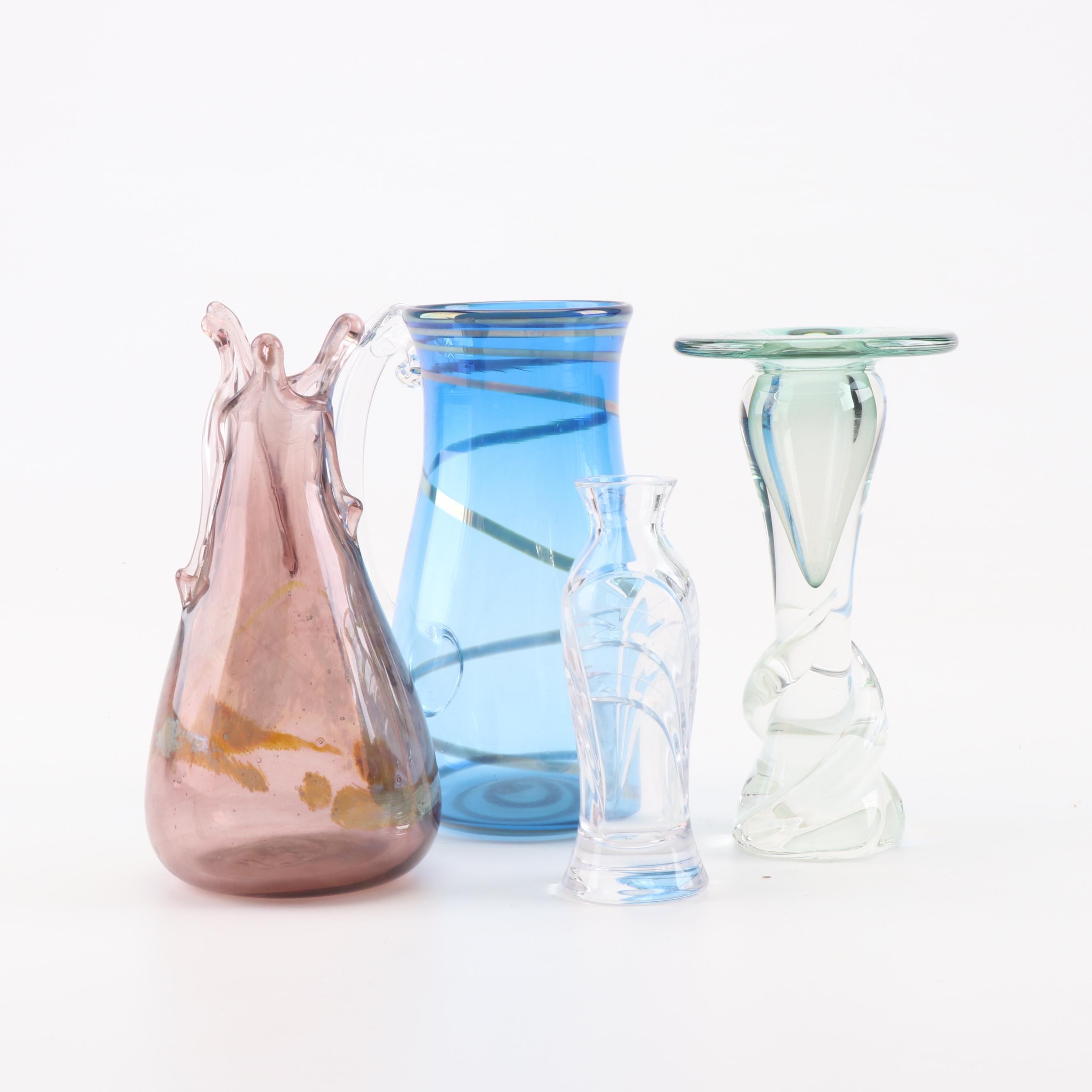 Miller Rogaska Bud Vase and Matthew Buechner Art Glass Candleholder