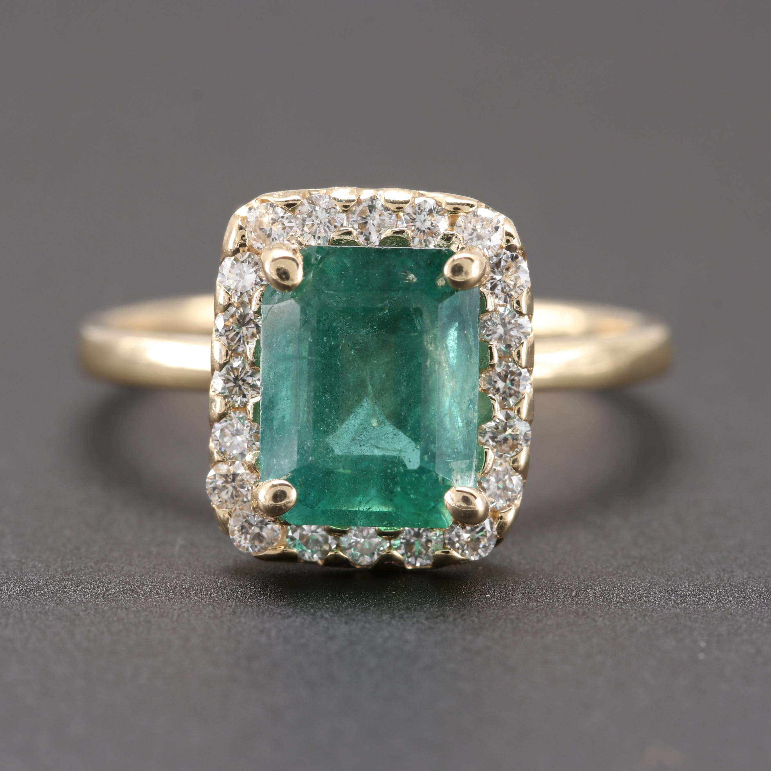 14K Yellow Gold 2.01 CT Emerald and Diamond Ring