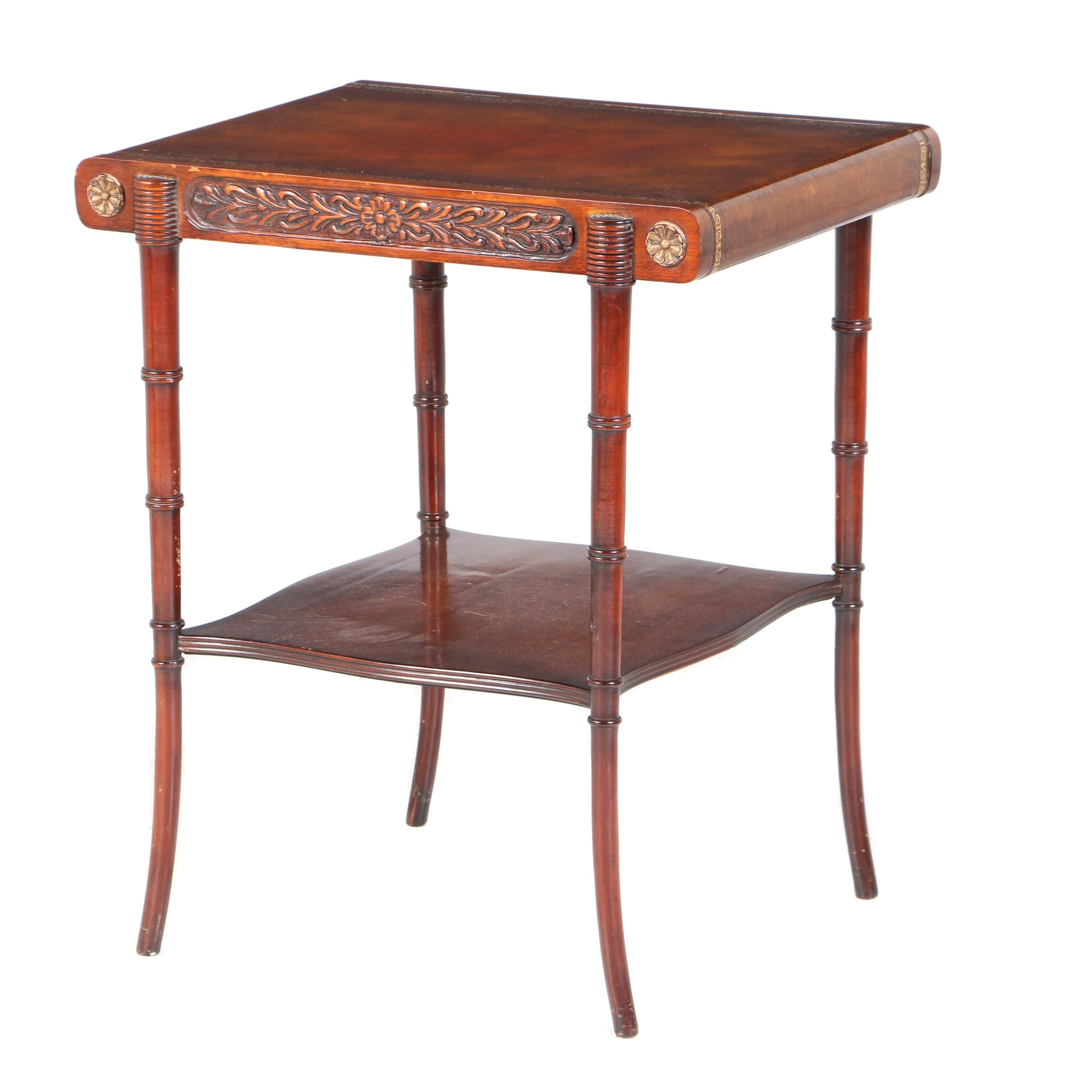 George III Style Mahogany Two-Tier Side Table, 20th Century