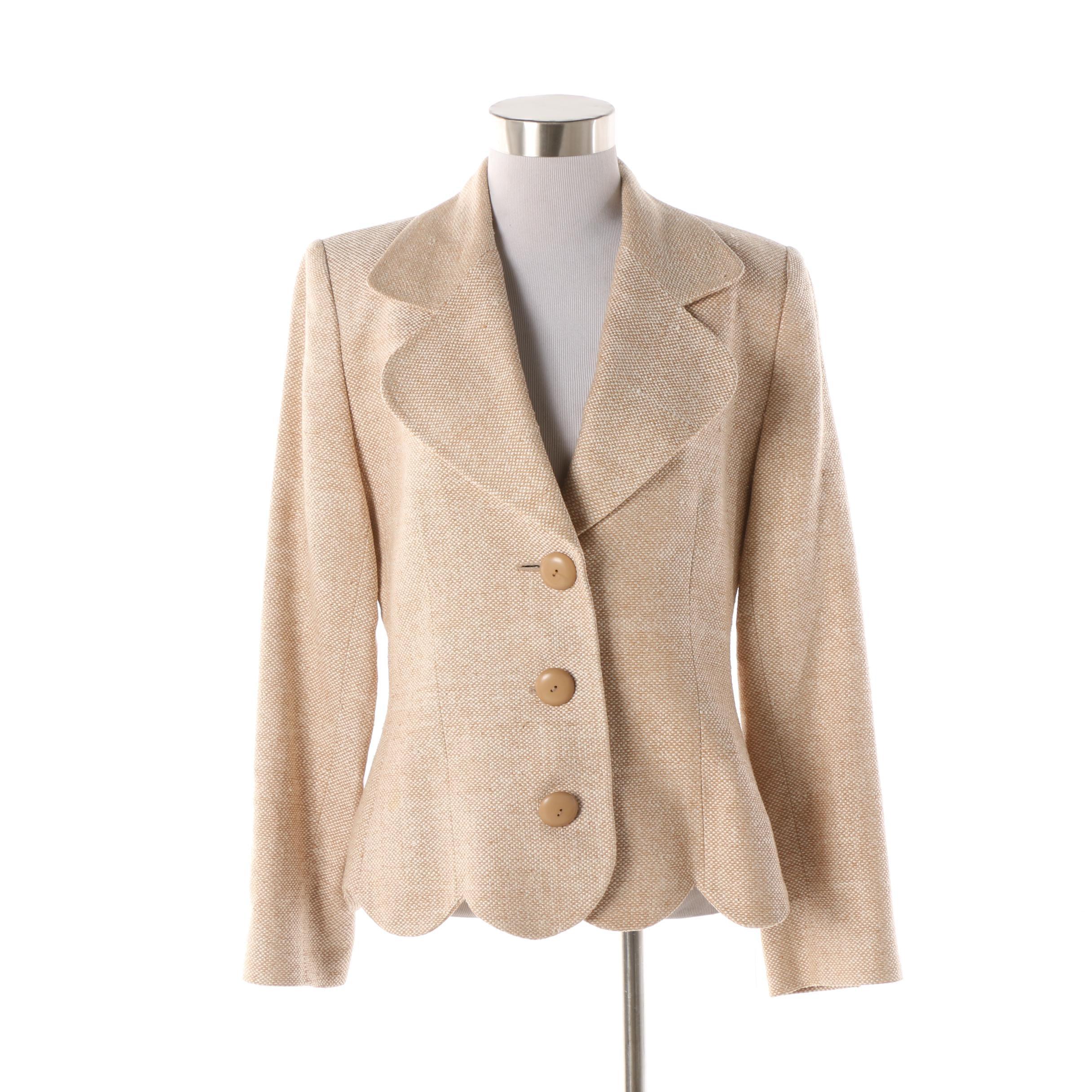 Women's Givenchy Couture Beige Silk Tweed Blazer