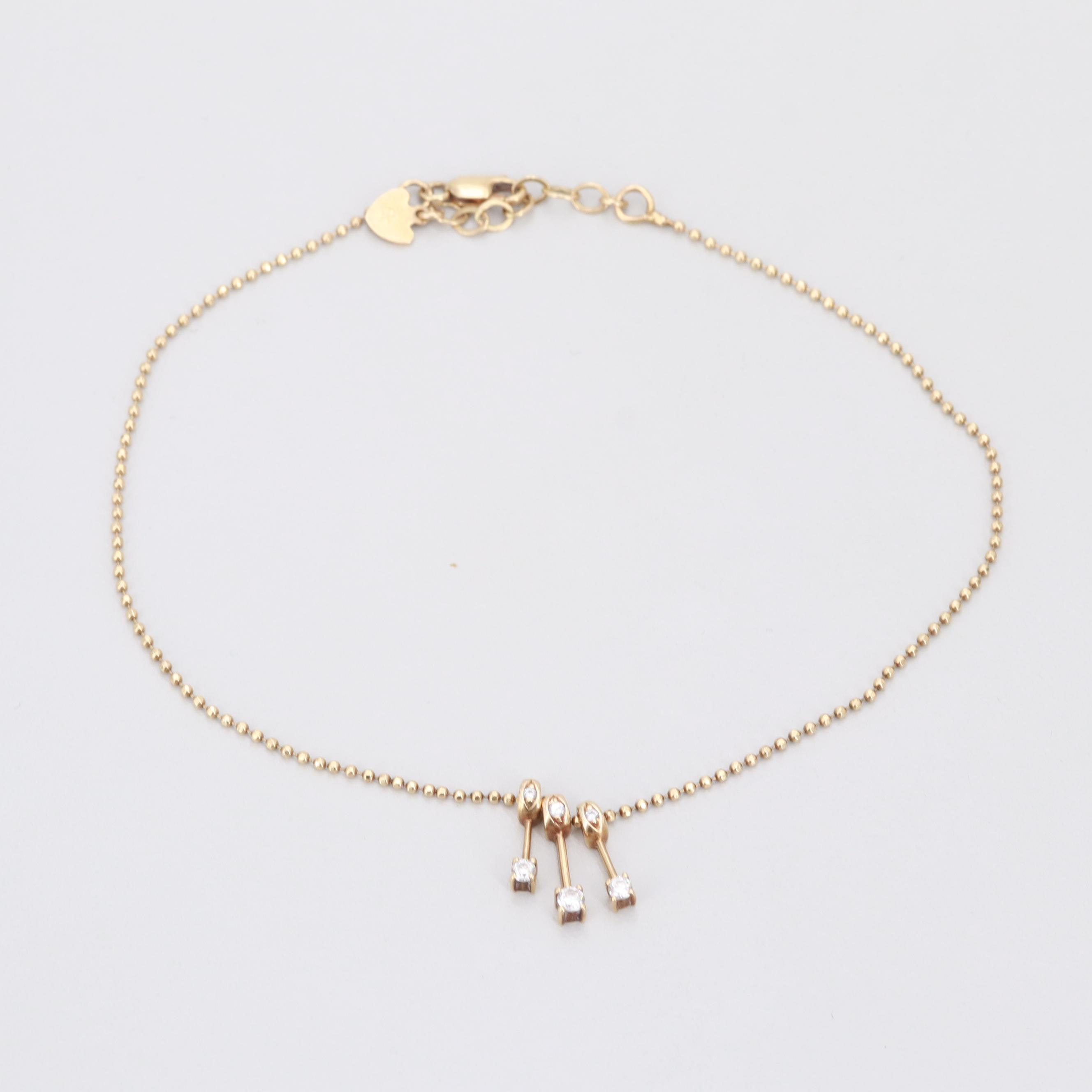 14K Yellow Gold Cubic Zirconia Anklet