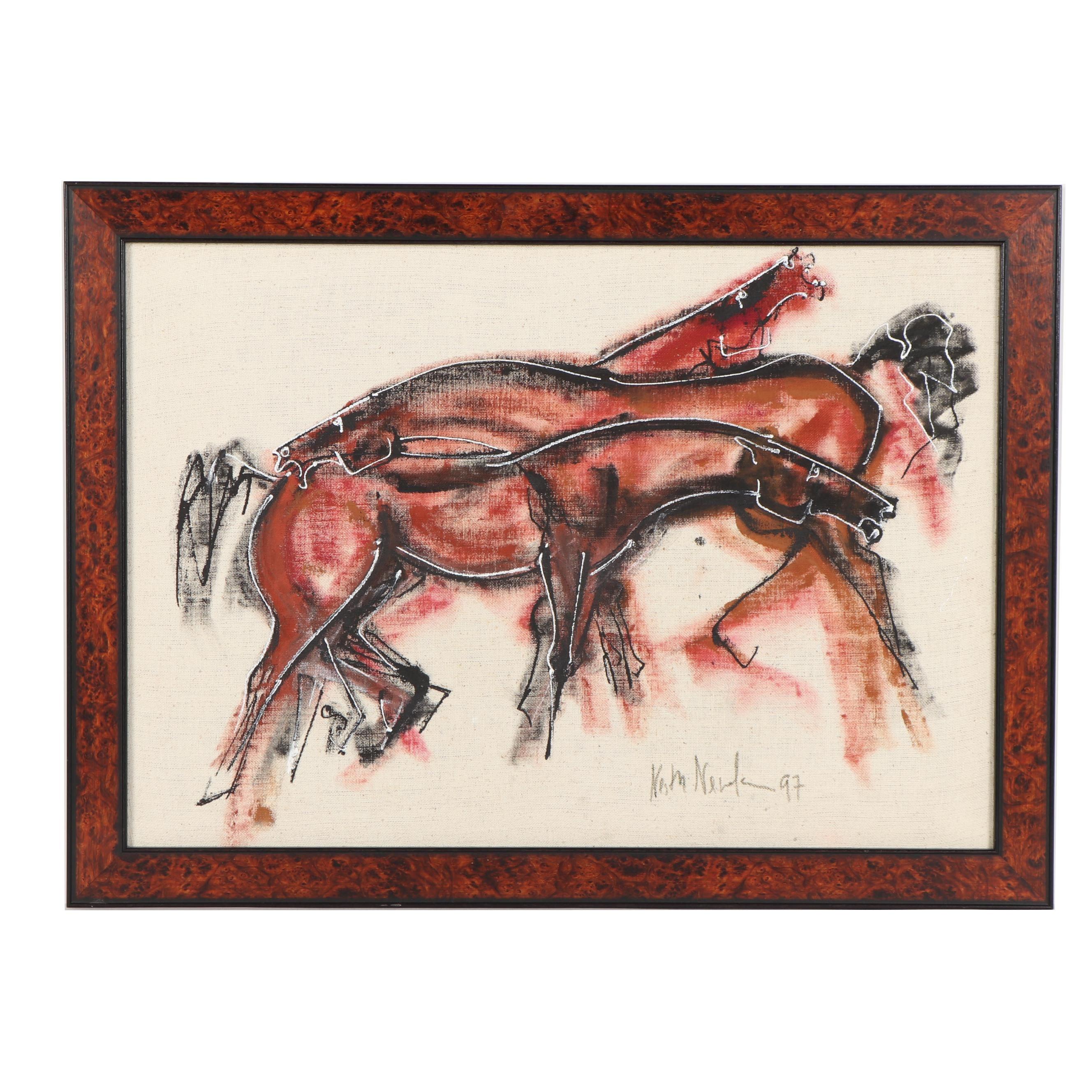 Acrylic Painting of Stylized Horses