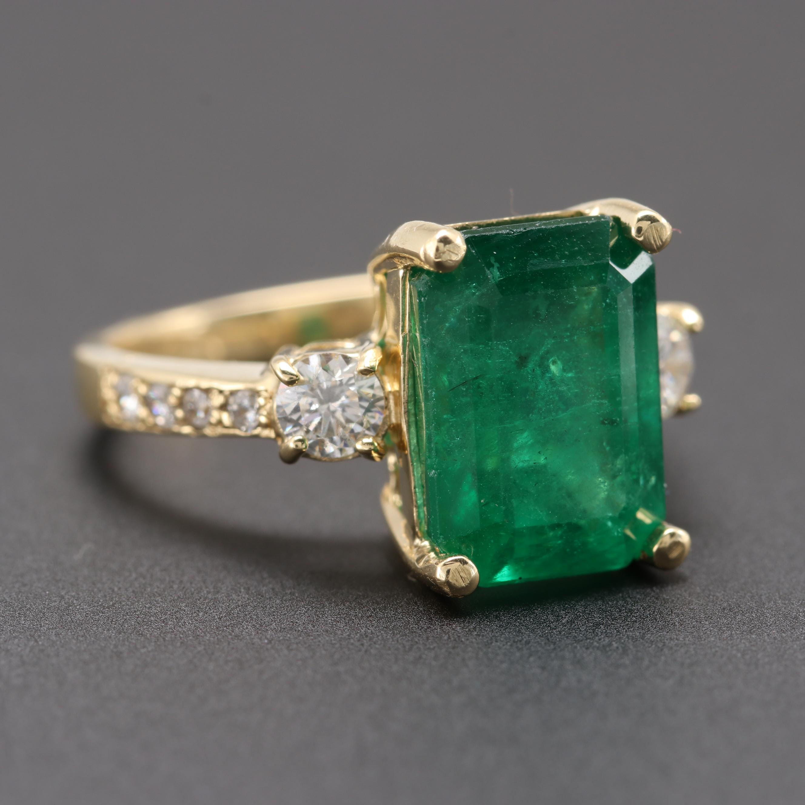 18K Yellow Gold 4.63 CT Emerald and Diamond Ring