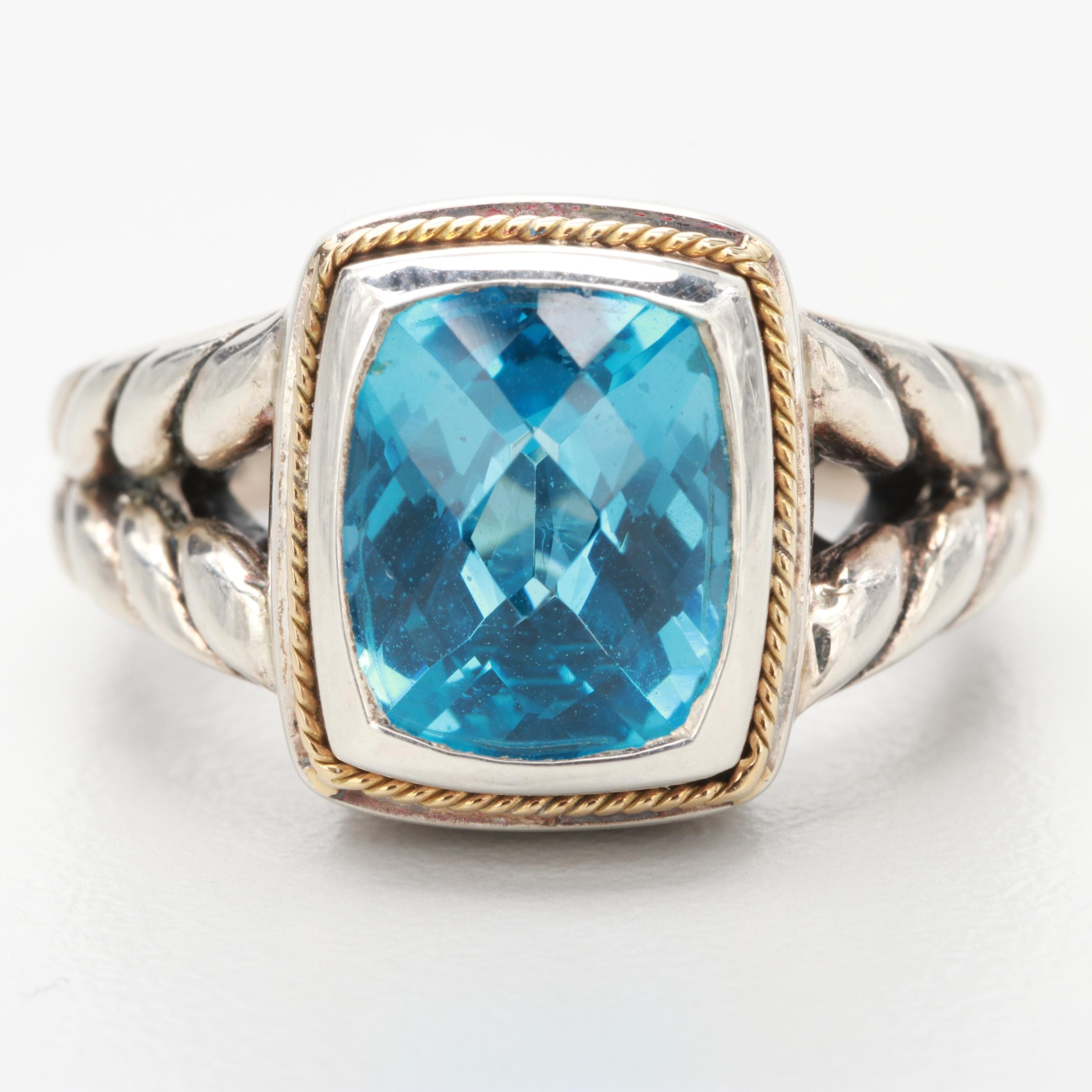 Effy Sterling Silver Blue Topaz Gemstone Ring with 18K Yellow Gold Accents