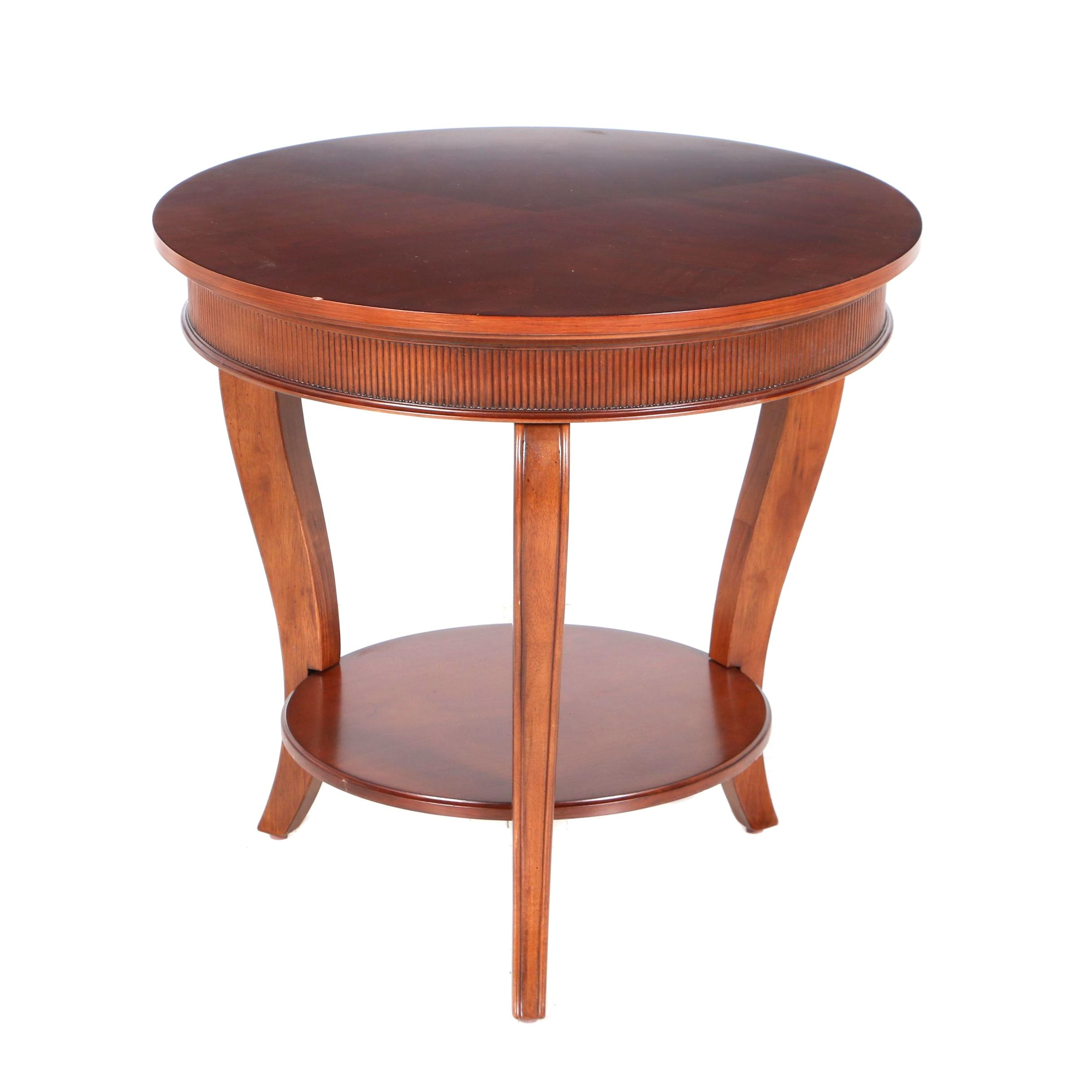 Contemporary Cherry-Stained Round Two-Tier Side Table