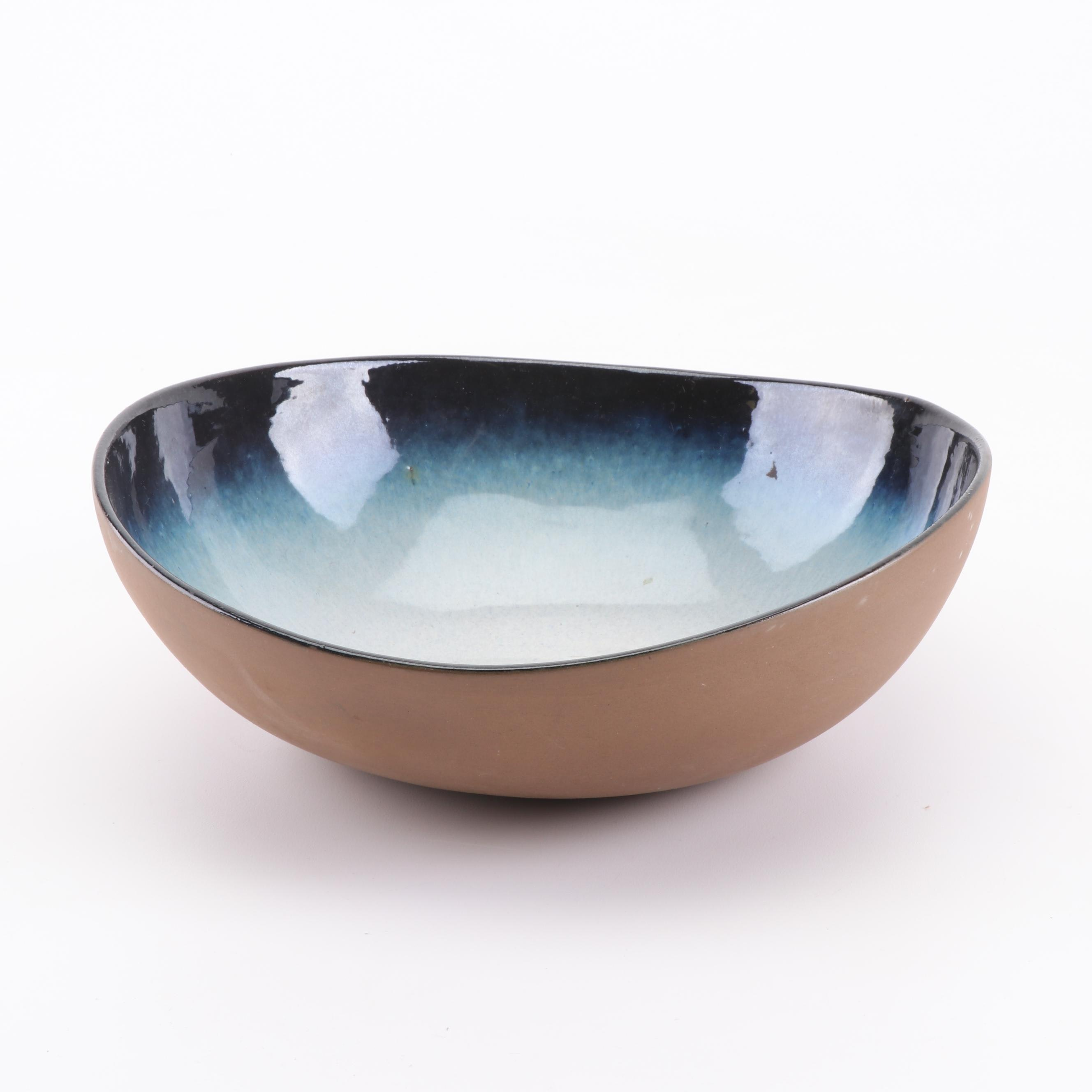 "Peter Pots ""Seagull Blue"" Stoneware Salad Bowl"