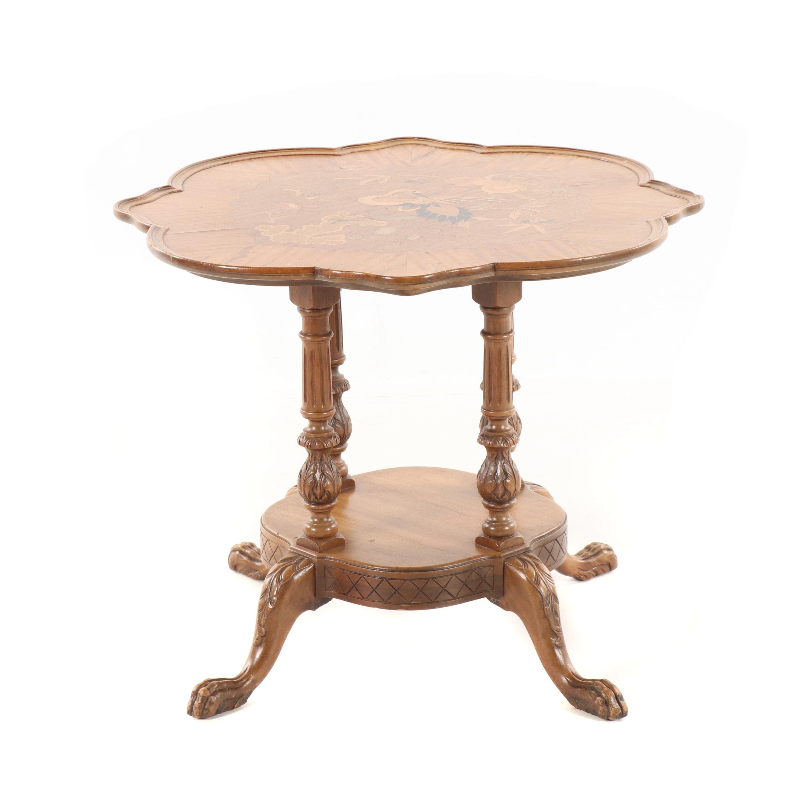 Crane Theme Marquetry Walnut Side Table, 20th Century