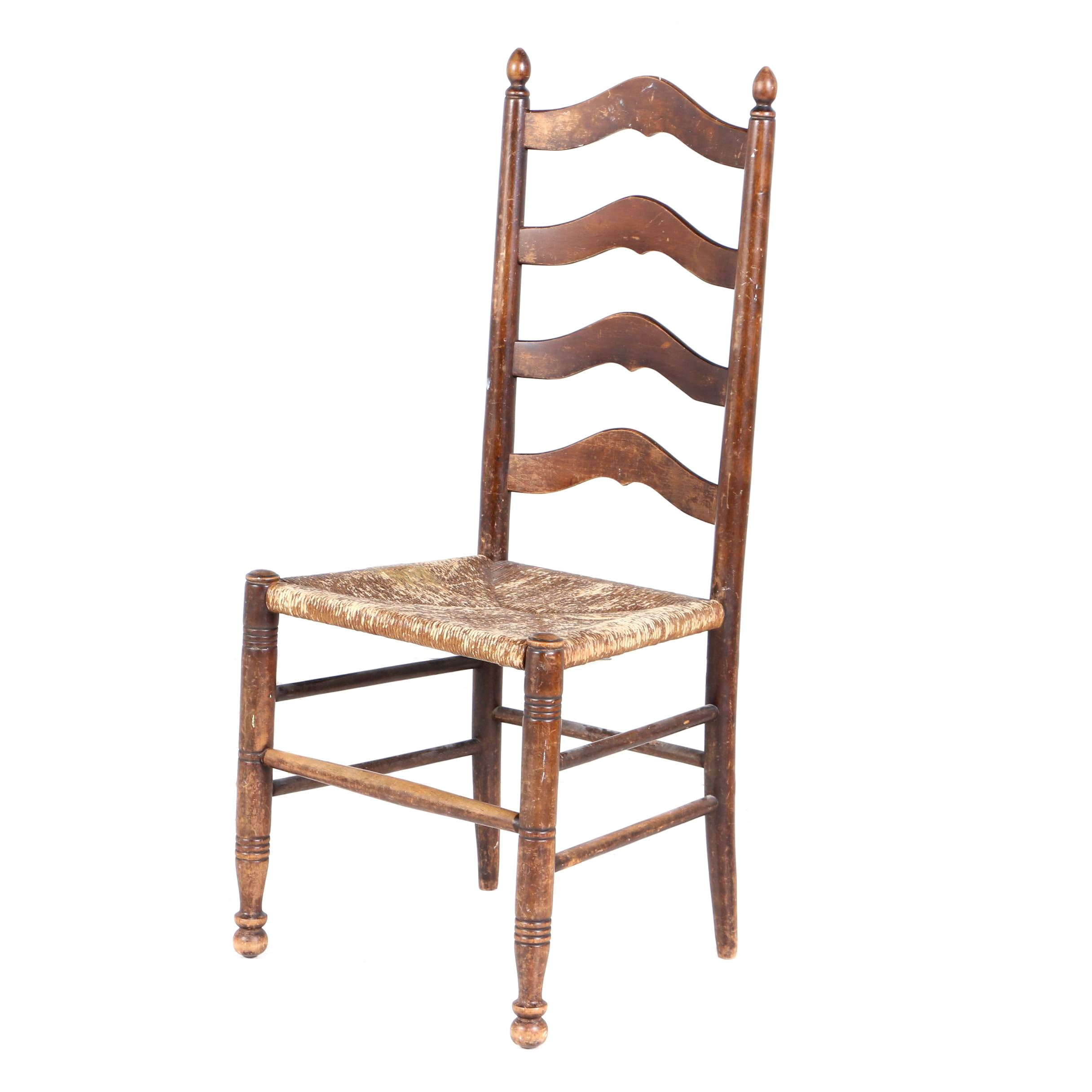 Delaware River Valley Style Ladderback Side Chair, 20th Century
