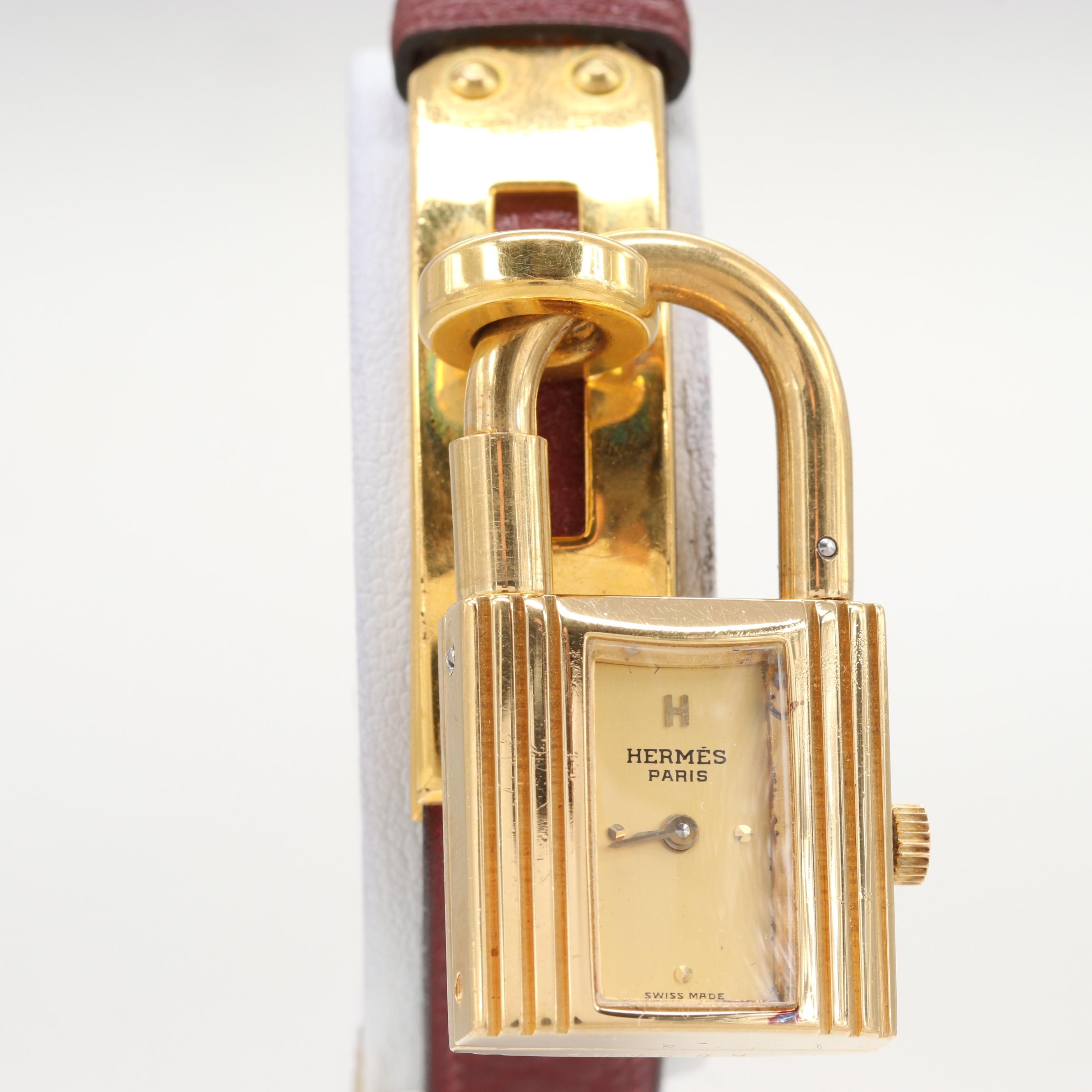 Hermès Kelly Gold Tone Quartz Wristwatch