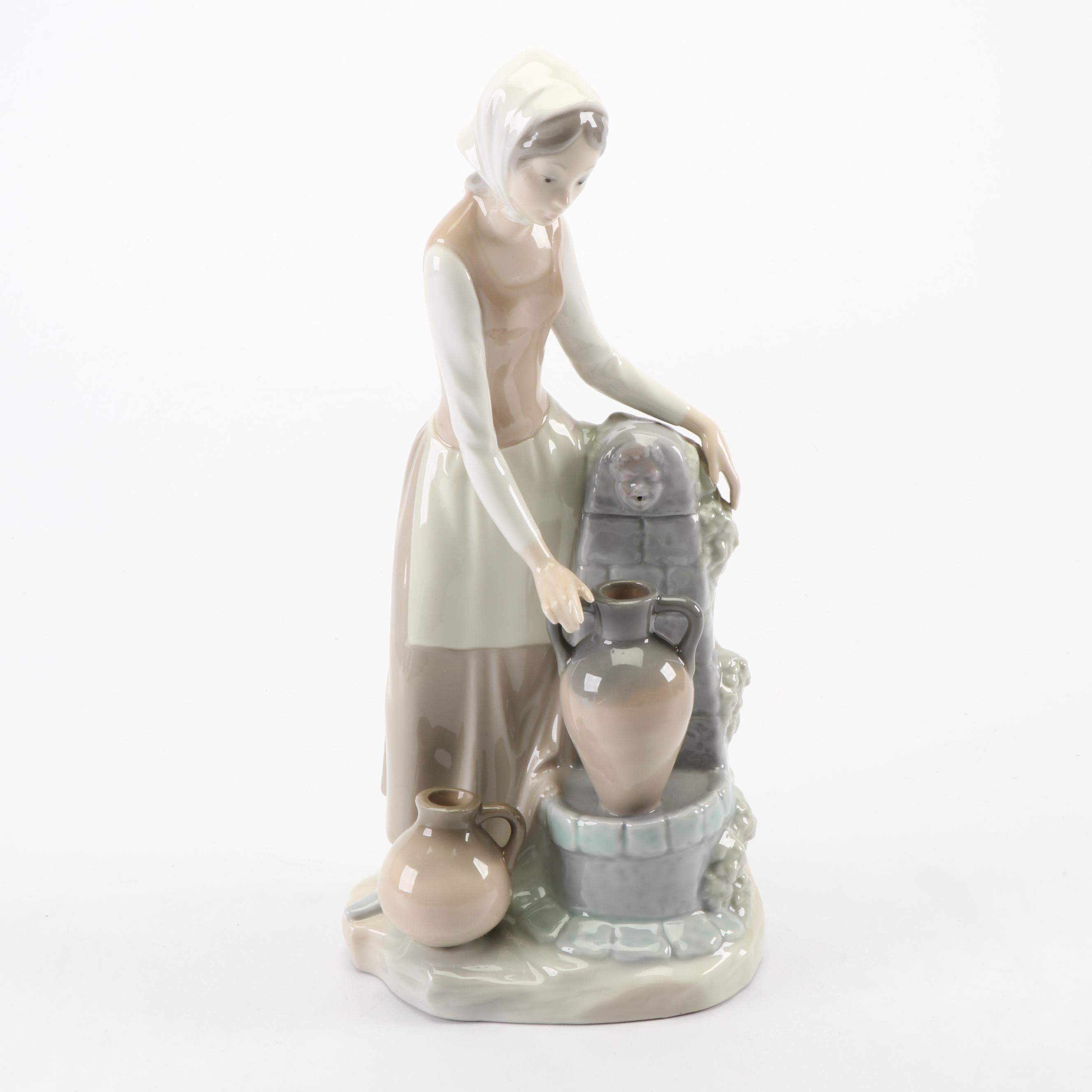 "Nao by Lladró  ""Woman at Well"" Porcelain Figurine"