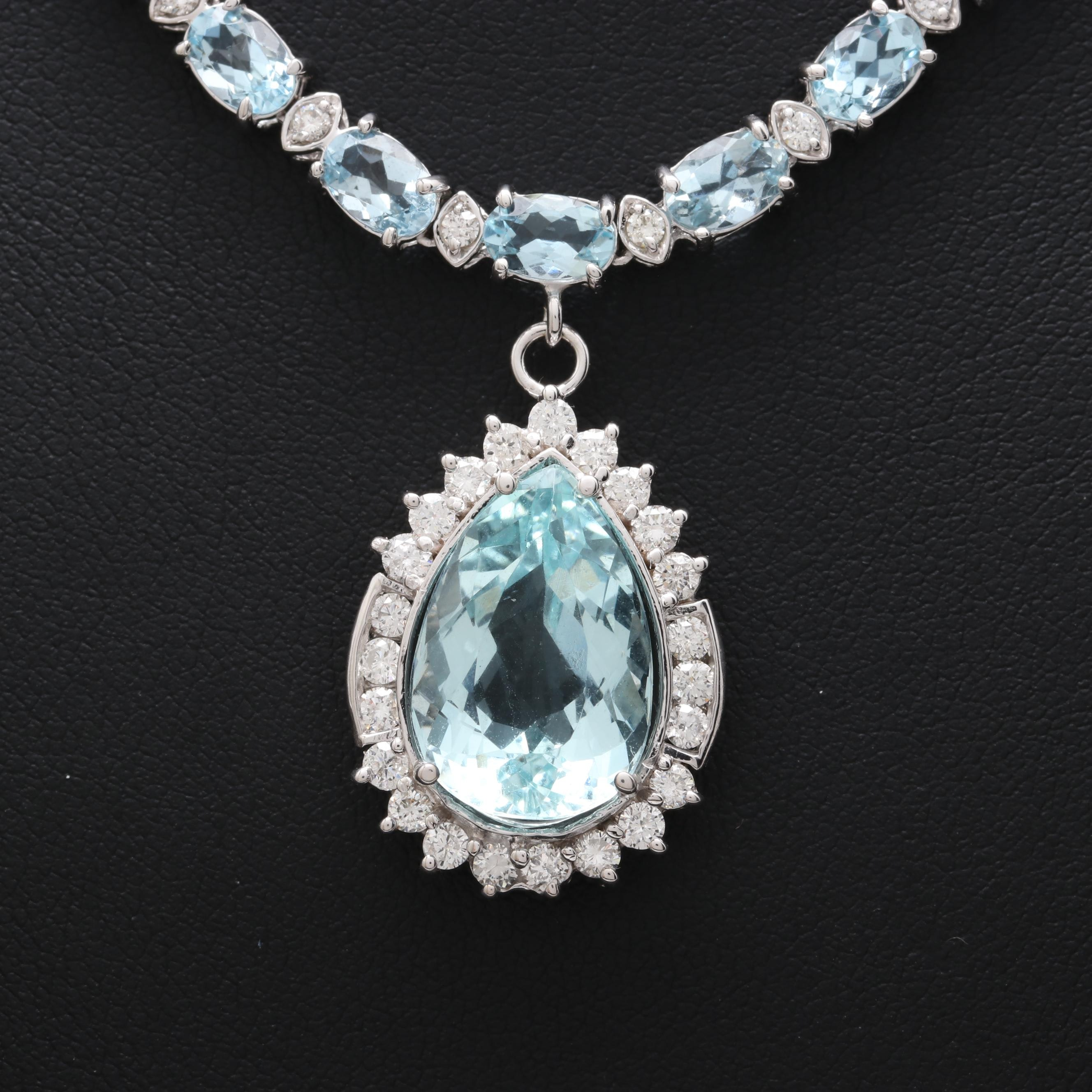14K Gold Aquamarine and 2.04 CTW Diamond Necklace with 6.24 CT Center Stone