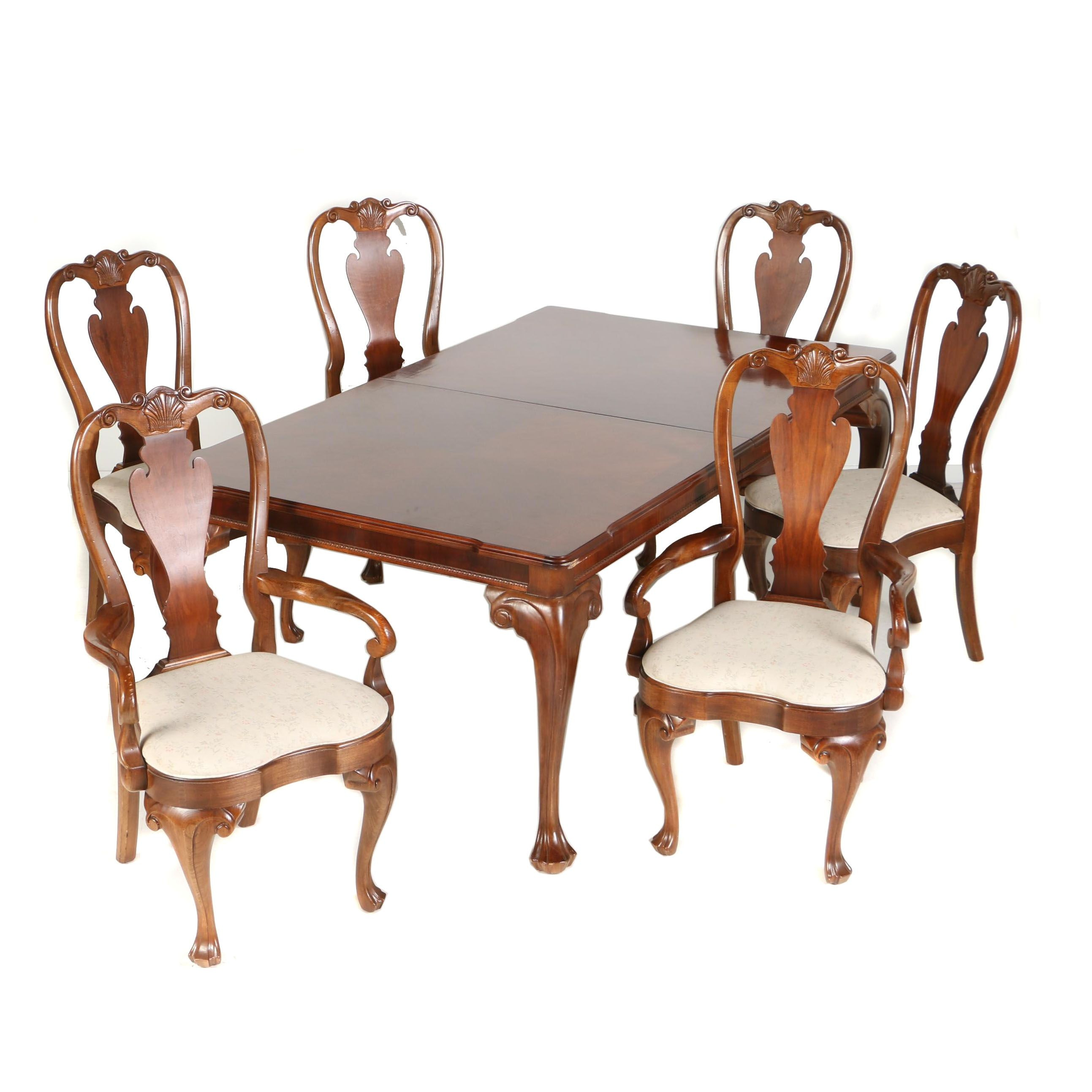 Georgian Style Mahogany Seven-Piece Dining Set by Bernhardt, 20th Century