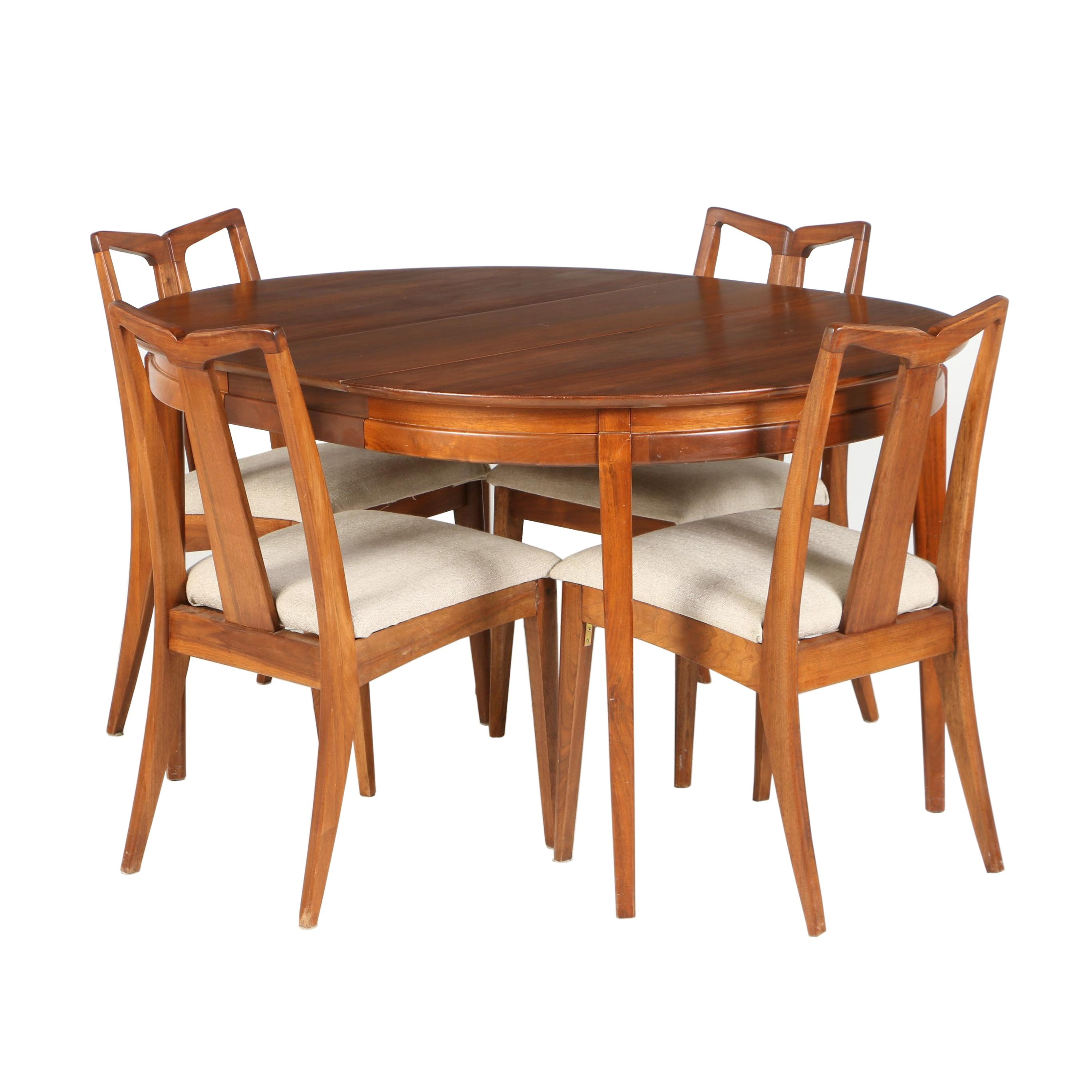 "Mid Century Modern Walnut ""Pavilion"" Five-Piece Dining Set by Drexel, Circa 1960"