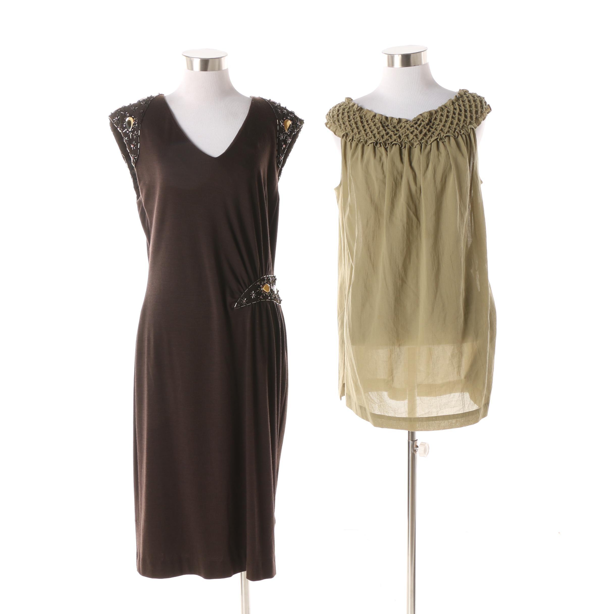 Escada Beaded Sleeveless Dress and Tunic Top