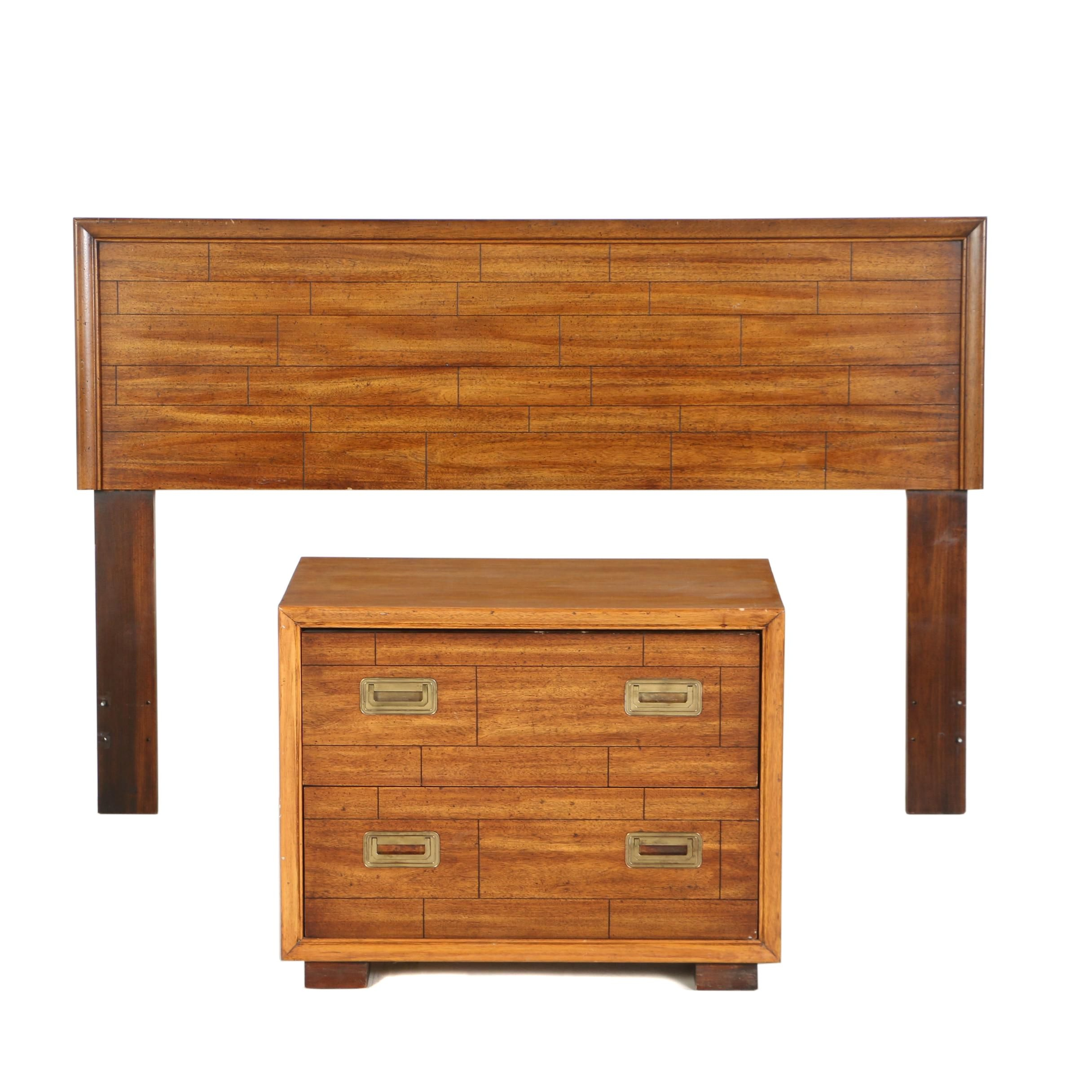 Walnut-Stained Full Size Headboard and Bedside Chest by Lane, Circa 1976