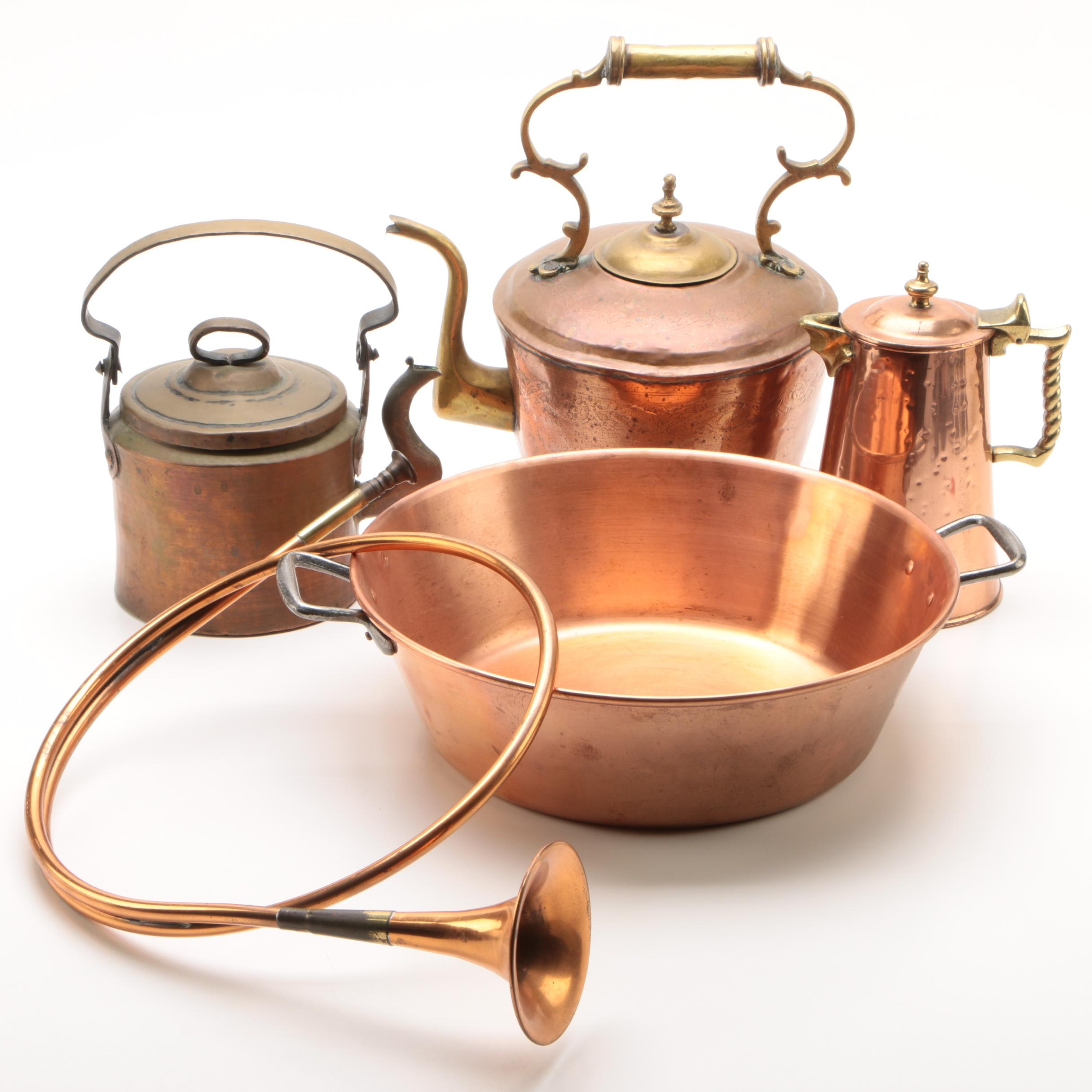 Brass and Copper Kettles with Basin and Hunting Horn