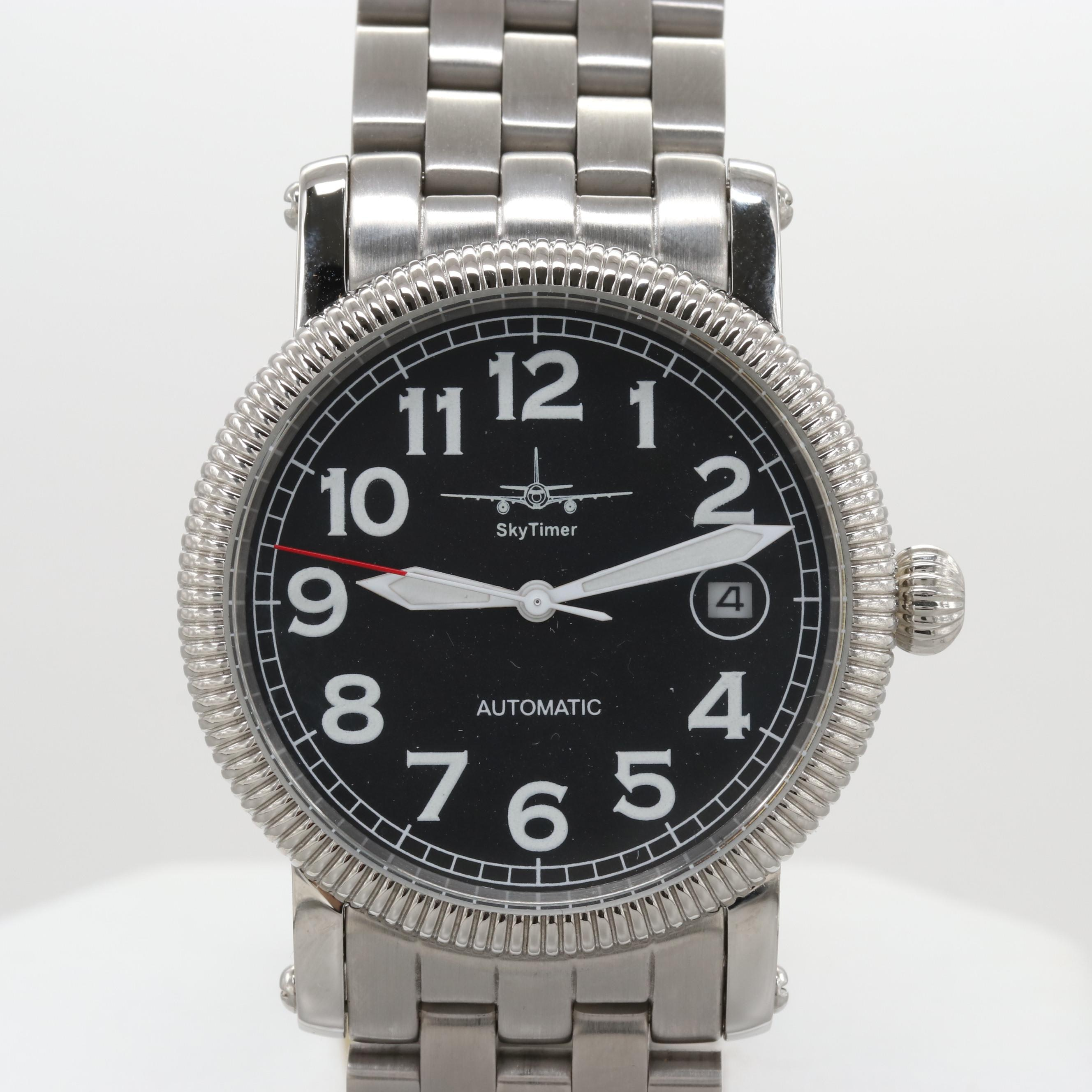 Skytime Stainless Steel Automatic Wristwatch With Date Window