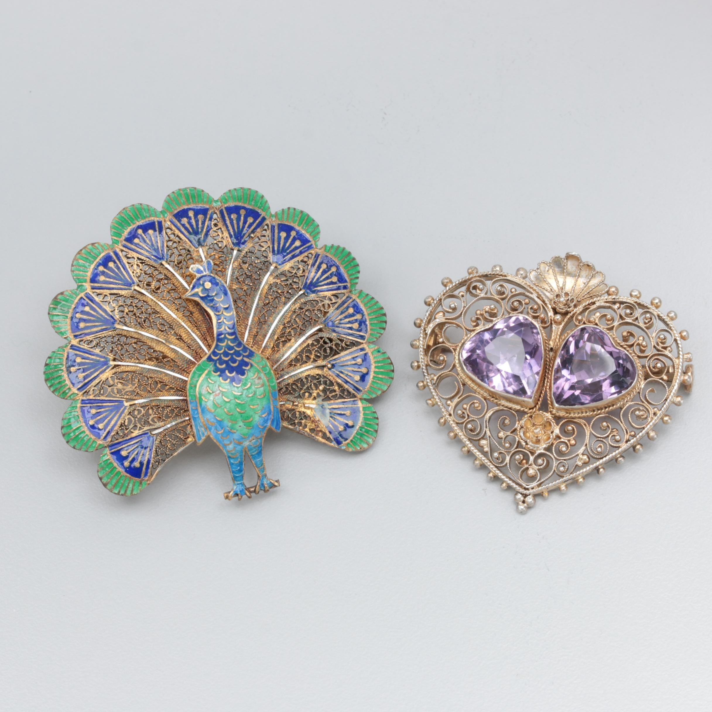 Vintage 800 Silver Amethyst and Portuguese Sterling Enameled Peacock Brooches