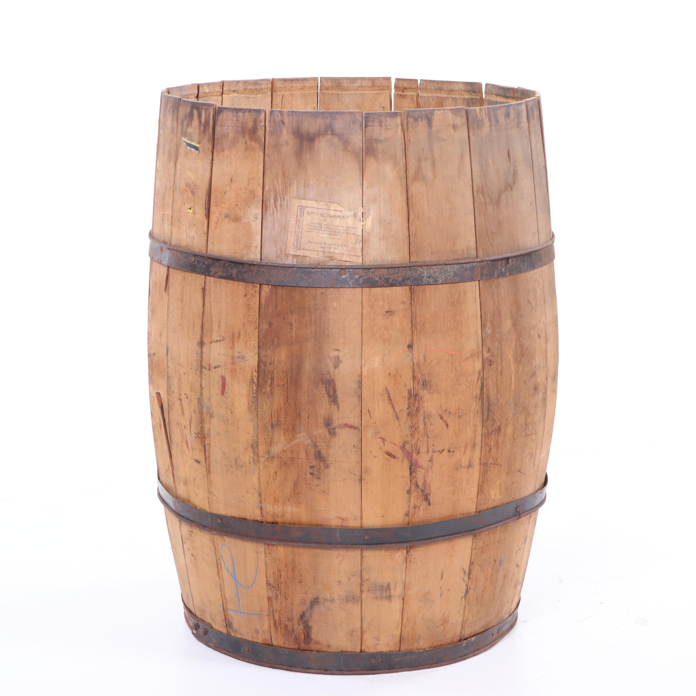 New England Dressed Meat & Wool Co. Wooden Barrel, Late 19th/ Early 20th C.